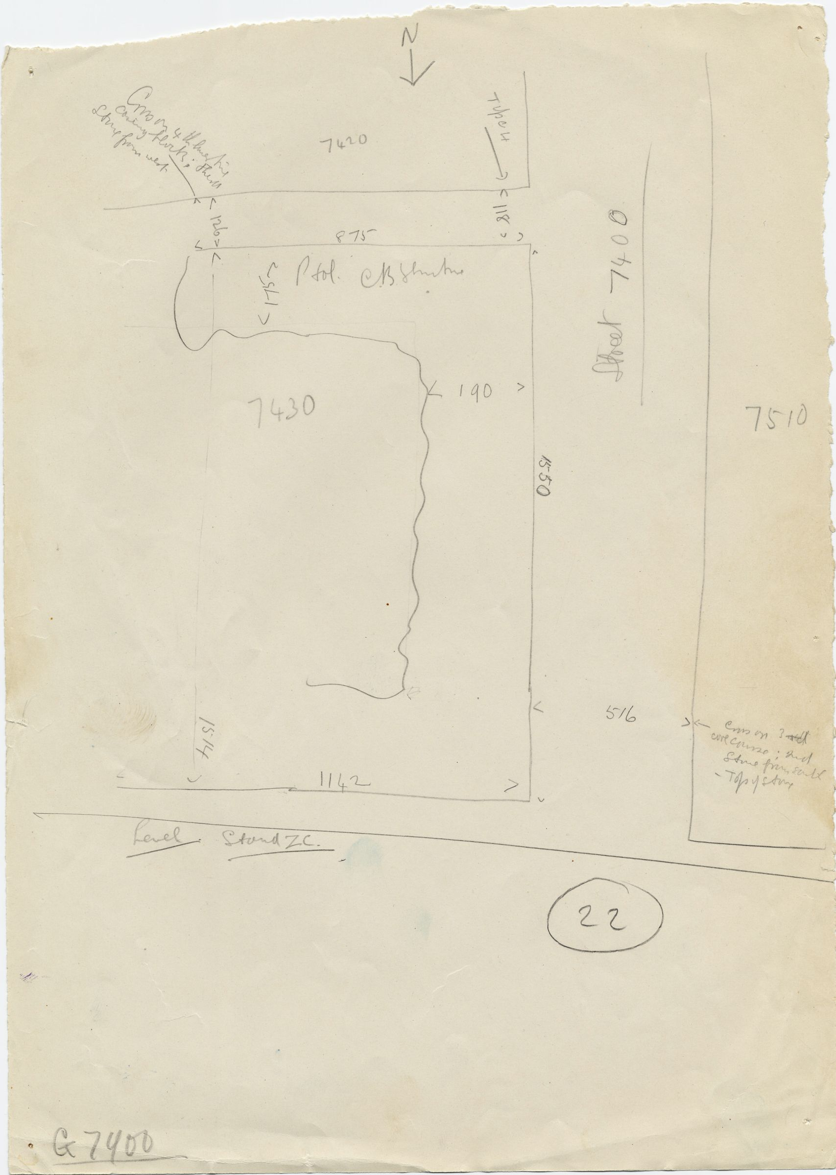 Maps and plans: Street G 7400 and Avenue G 2, intersection with Ptolemaic structure on G 7430-7440