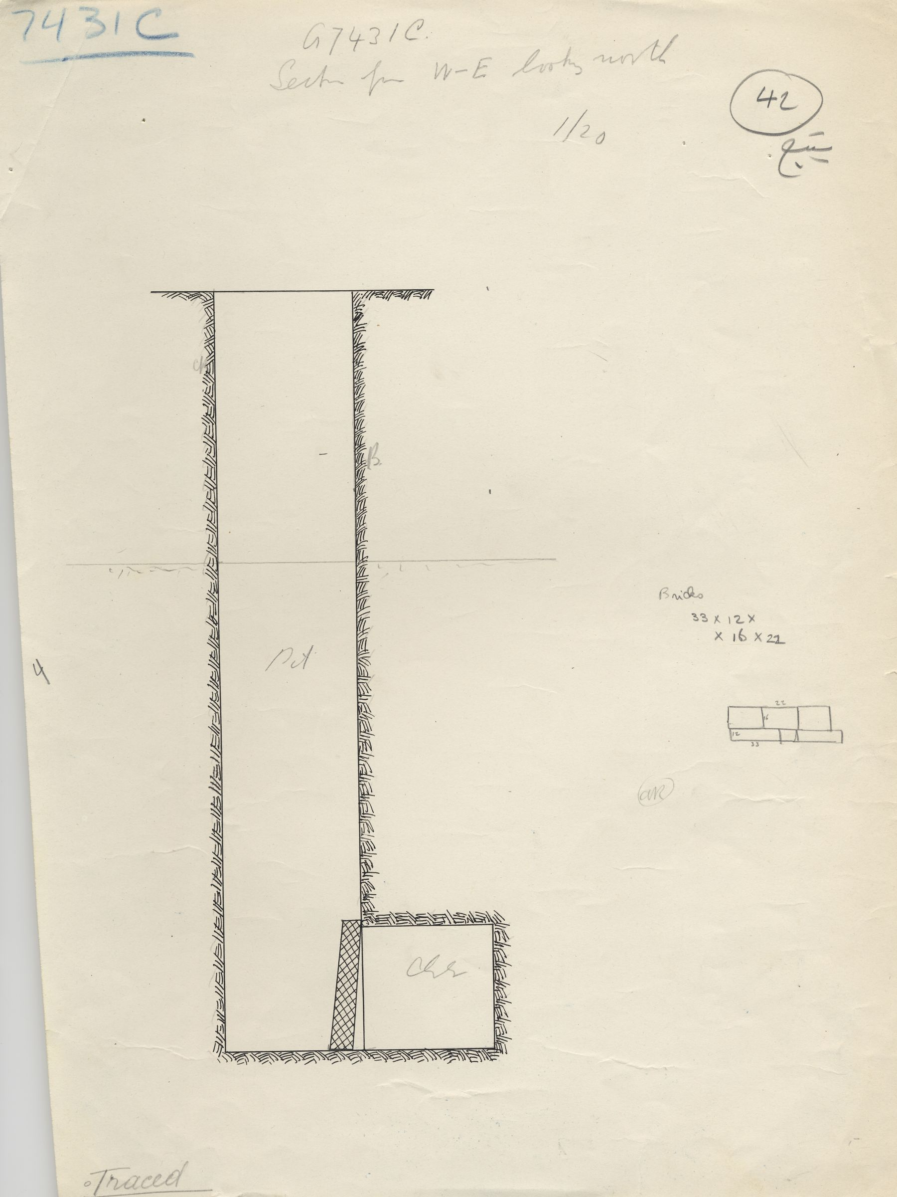 Maps and plans: G 7431, Shaft C