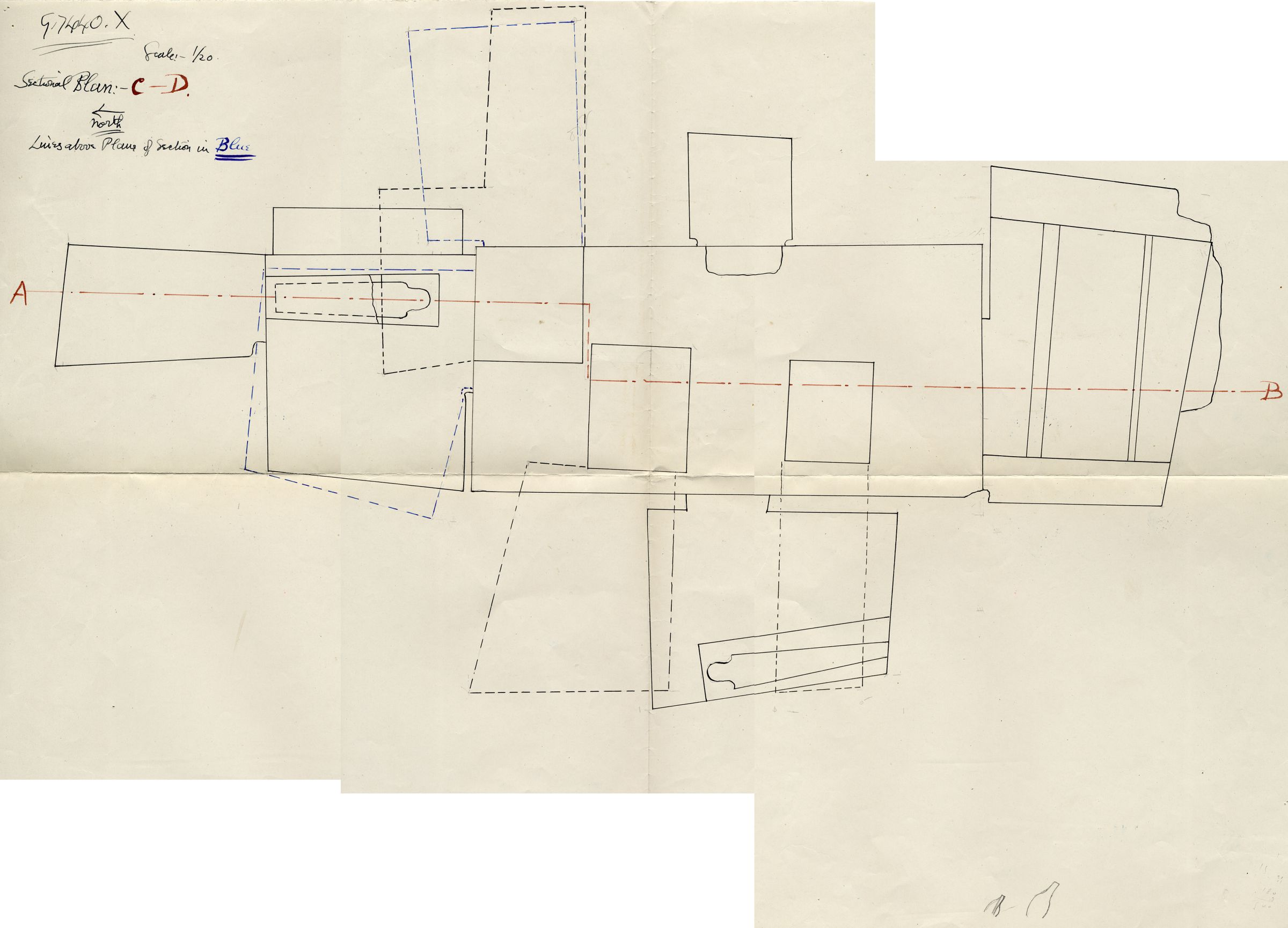 Maps and plans: G 7430-7440: G 7440, Shaft X
