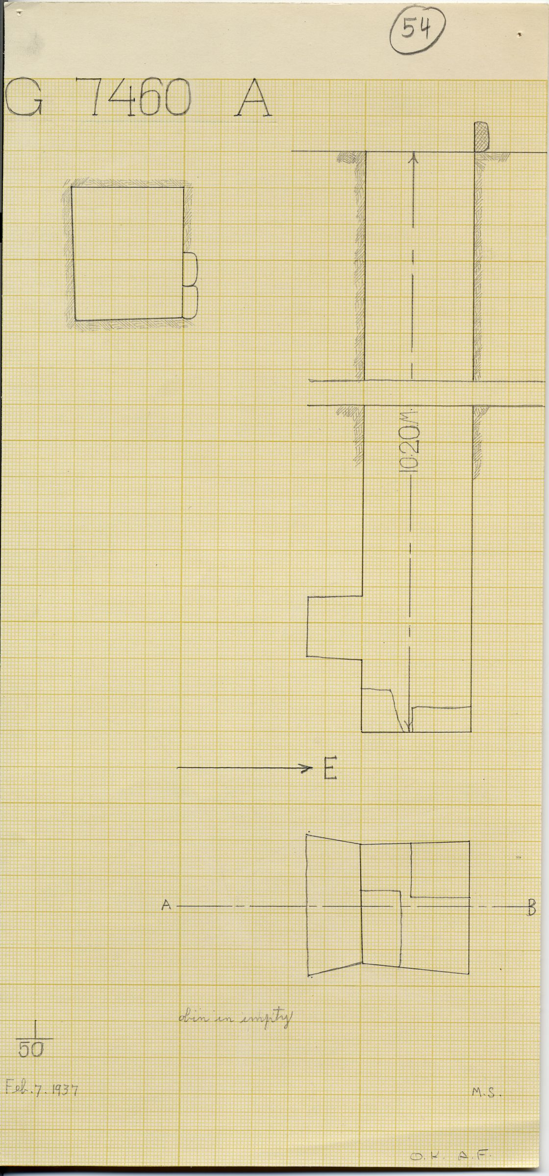 Maps and plans: G 7460, Shaft A