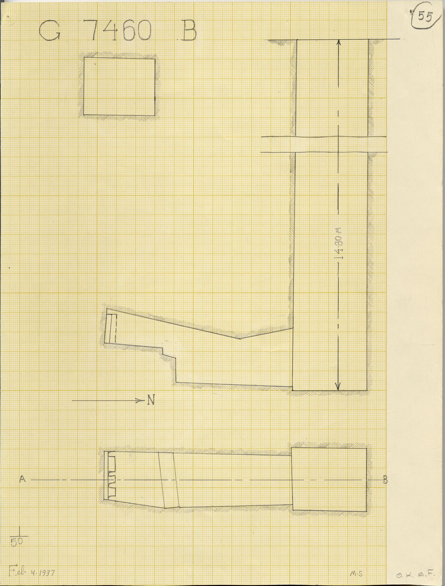 Maps and plans: G 7460, Shaft B