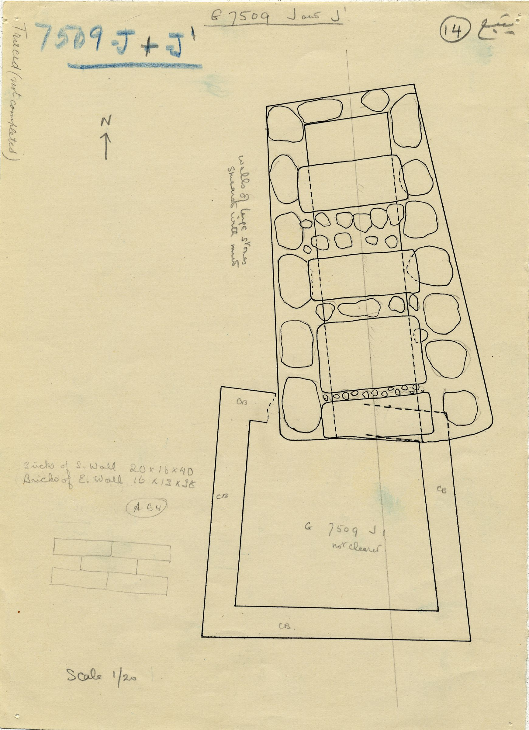 Maps and plans: G 7509, Shaft J and J1
