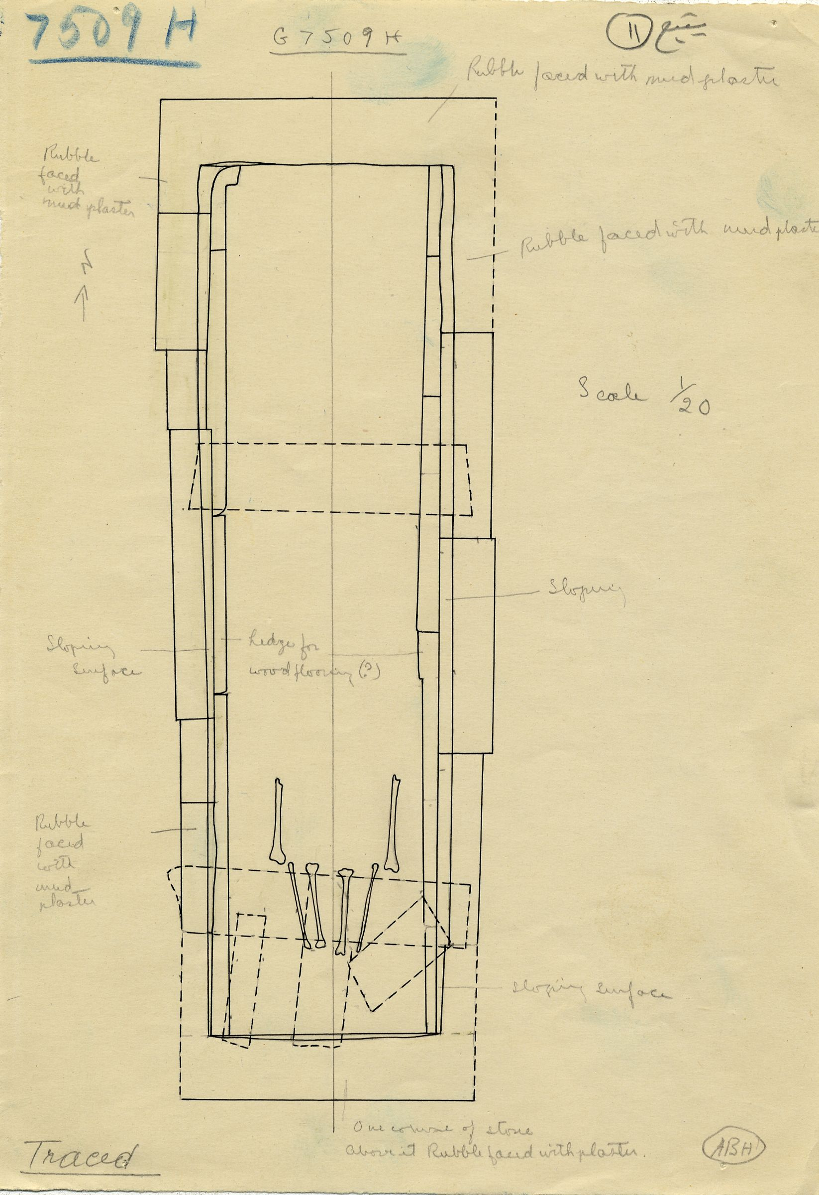 Maps and plans: G 7509, Shaft H