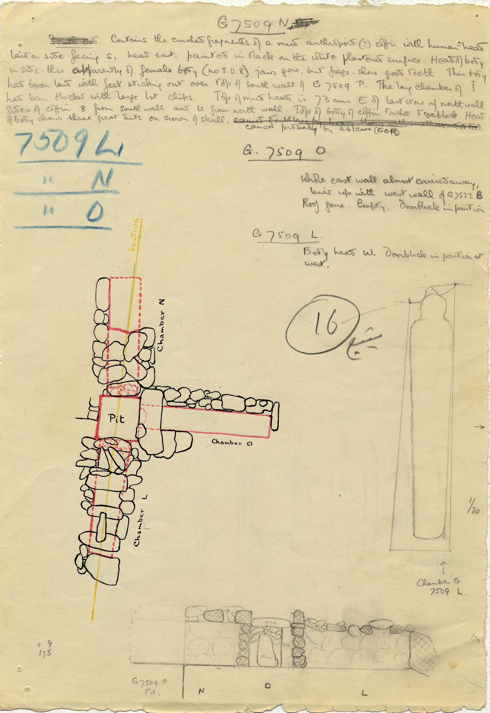 Maps and plans: G 7509, Shaft L, N, O