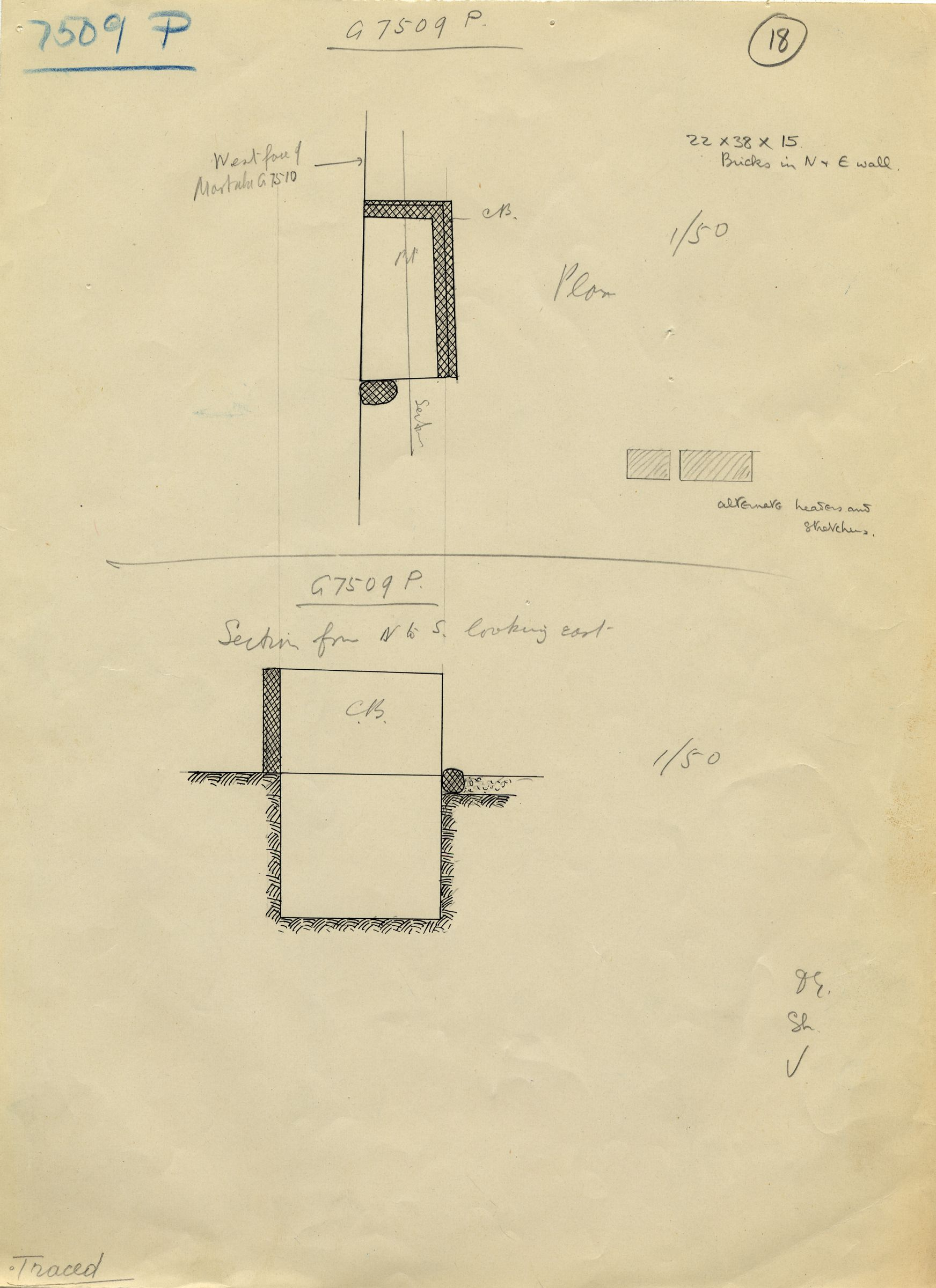 Maps and plans: G 7509, Shaft P