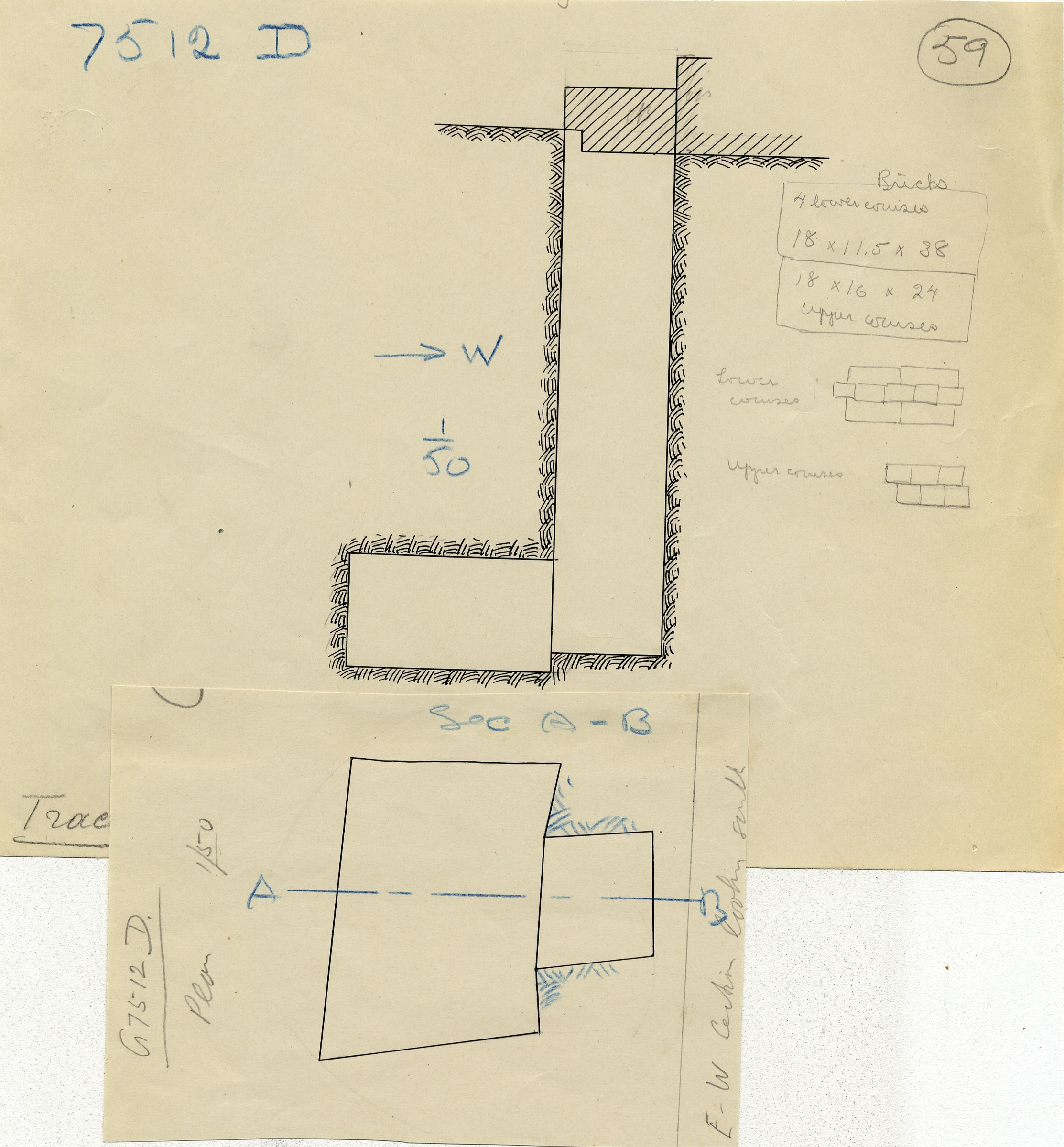 Maps and plans: G 7512, Shaft D