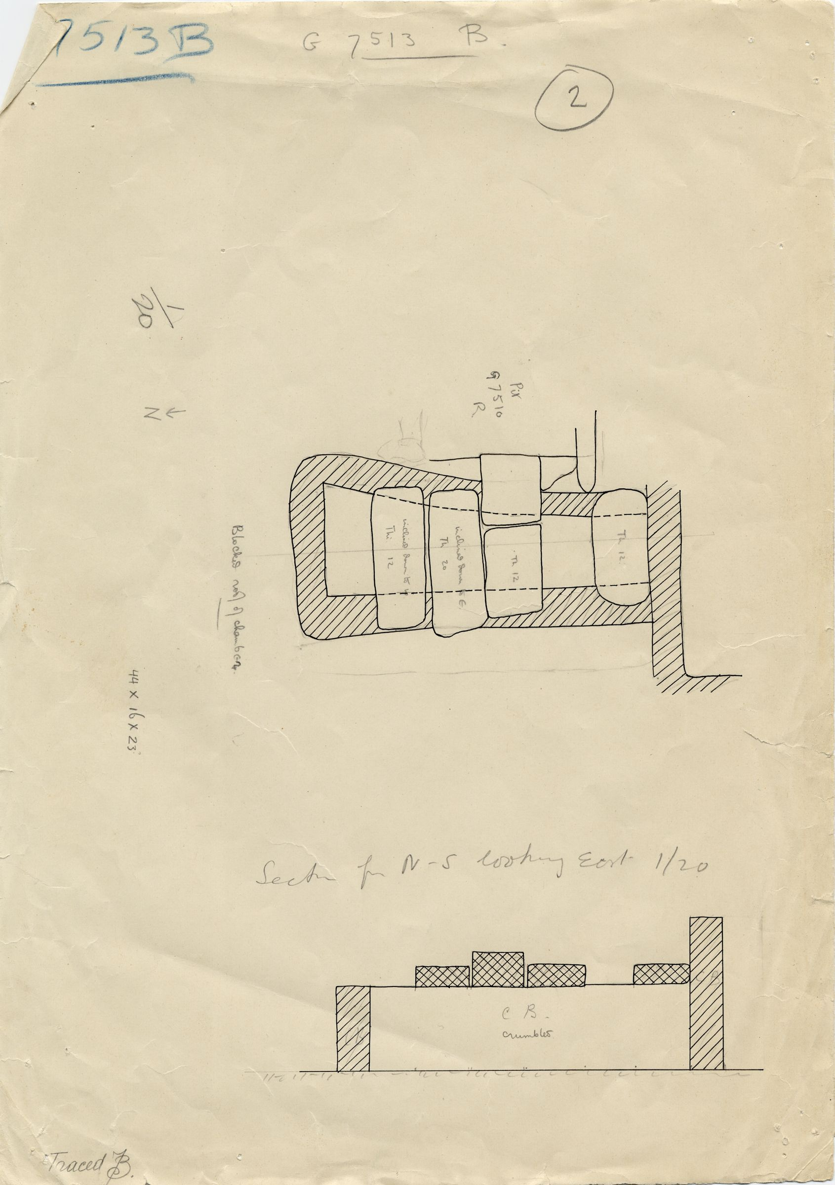 Maps and plans: G 7513, Shaft B