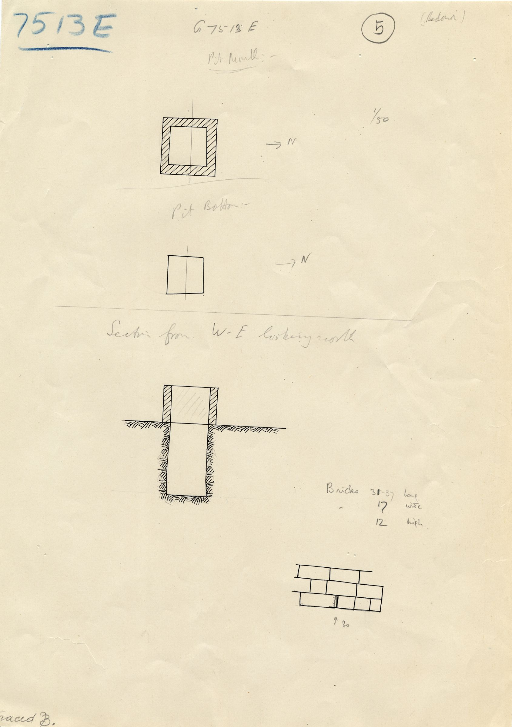 Maps and plans: G 7513, Shaft E