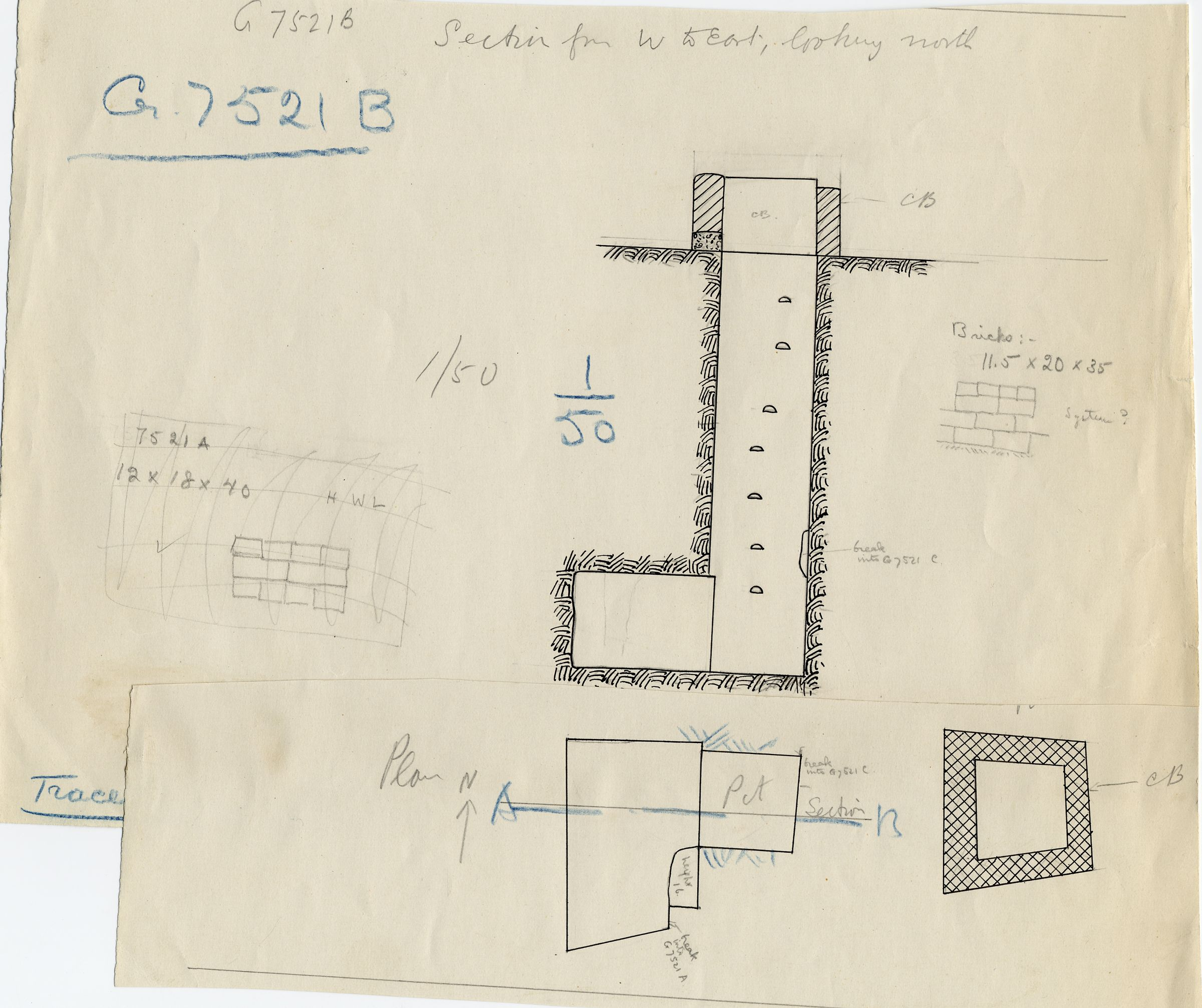 Maps and plans: G 7521, Shaft B