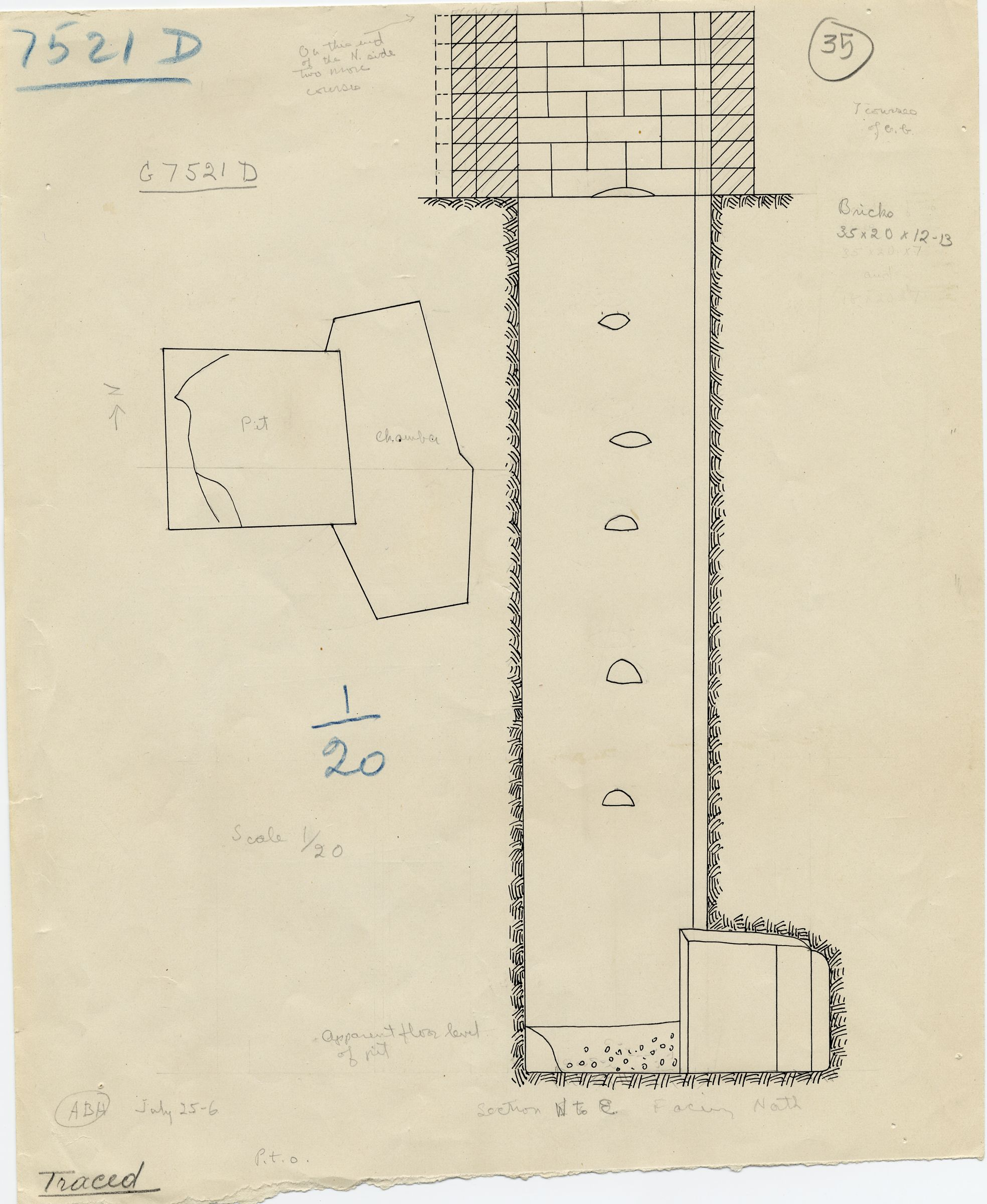 Maps and plans: G 7521, Shaft D