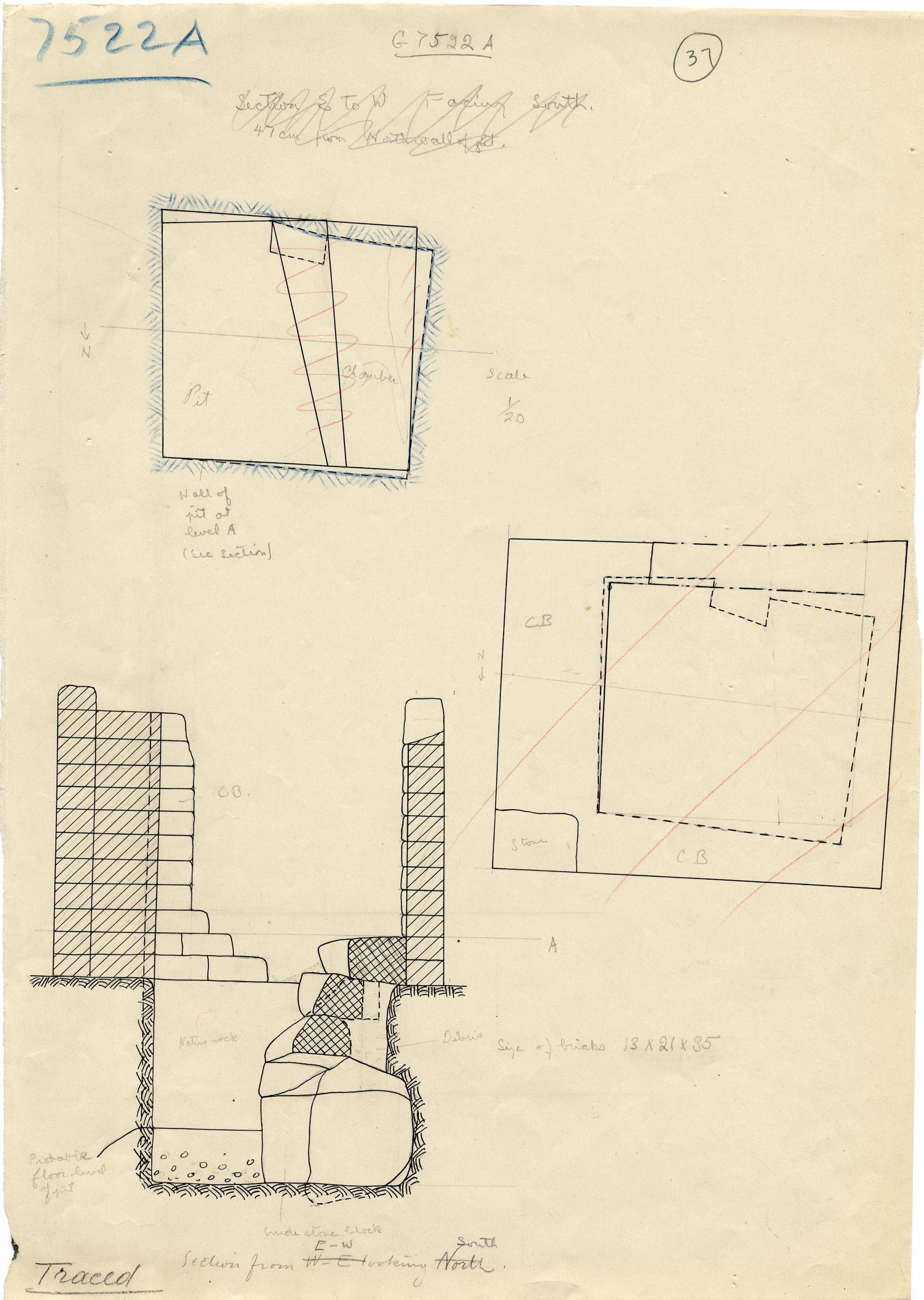 Maps and plans: G 7522, Shaft A