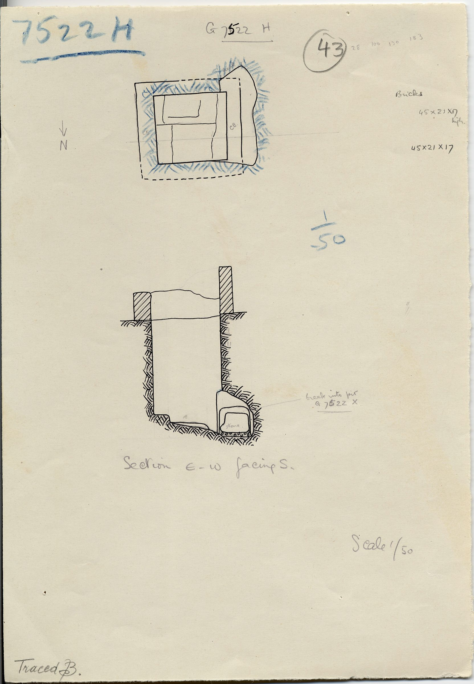 Maps and plans: G 7522, Shaft H