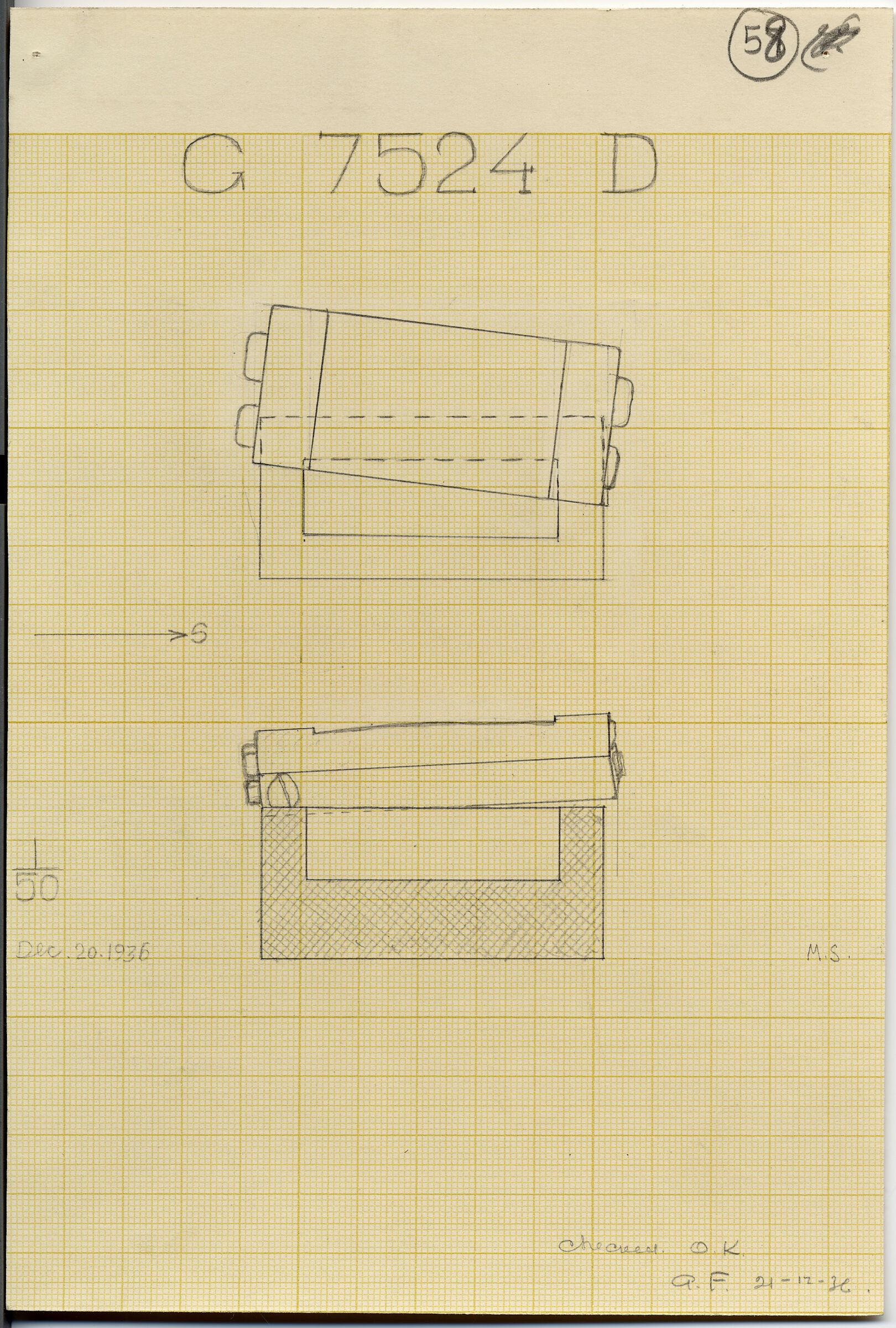Maps and plans: G 7524, Shaft D, sarcophagus