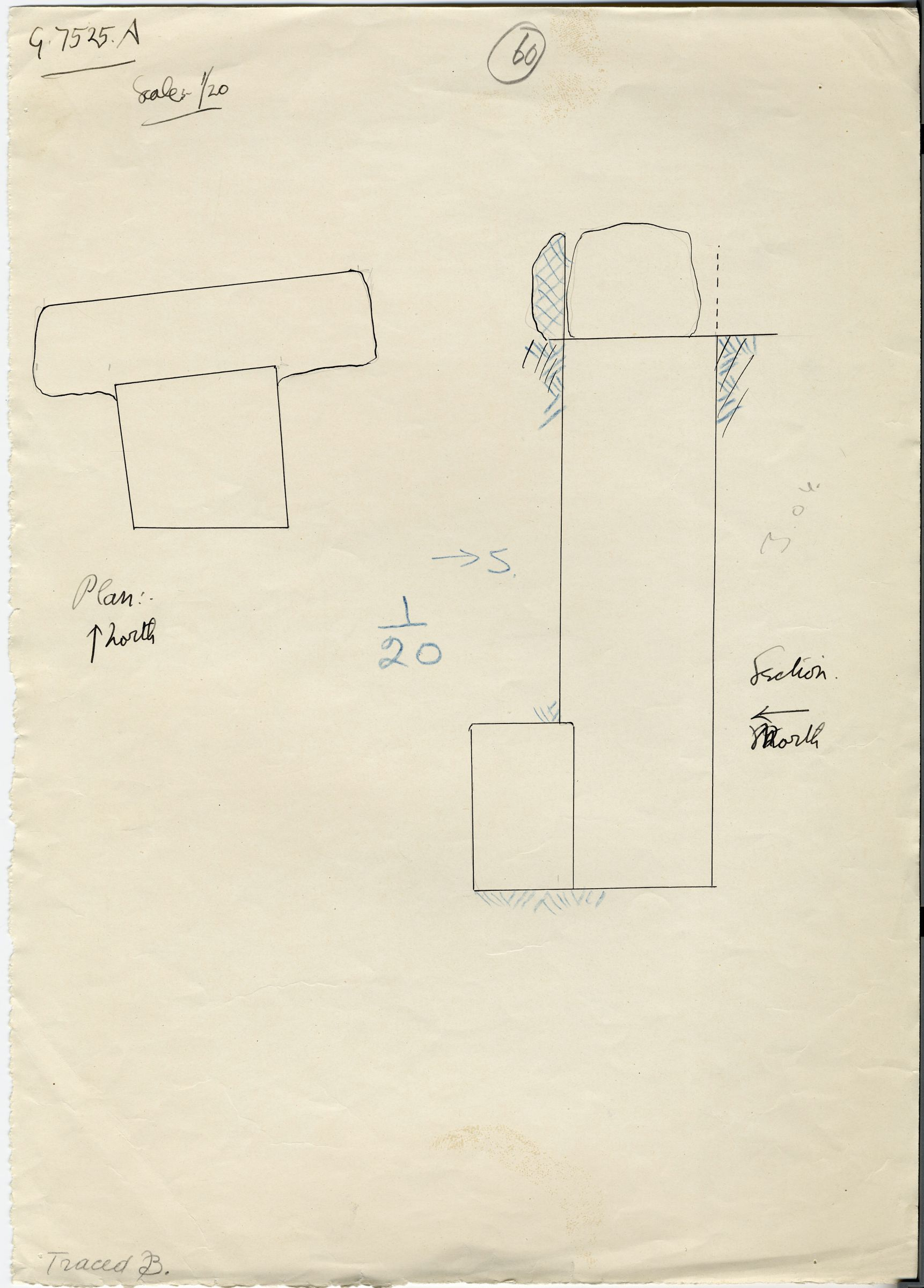 Maps and plans: G 7525, Shaft A