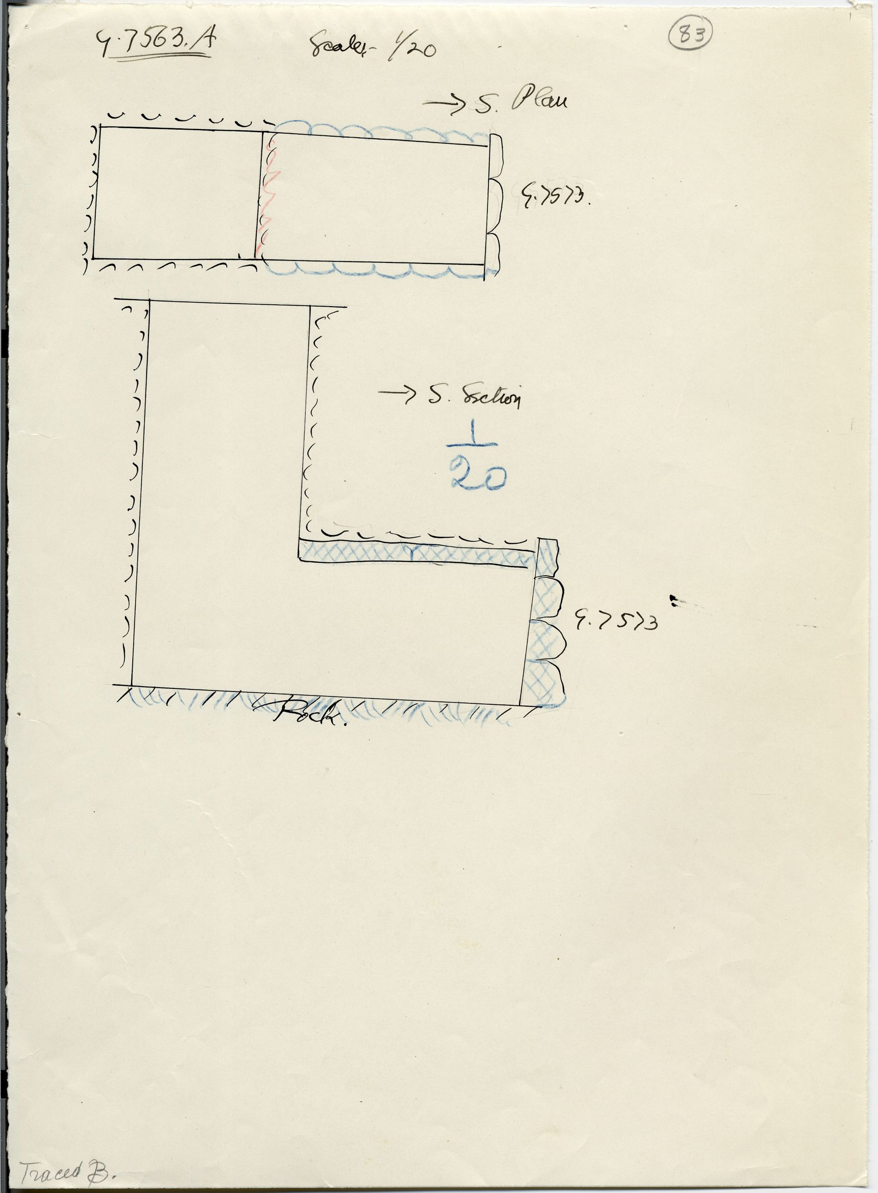 Maps and plans: G 7563, Shaft A