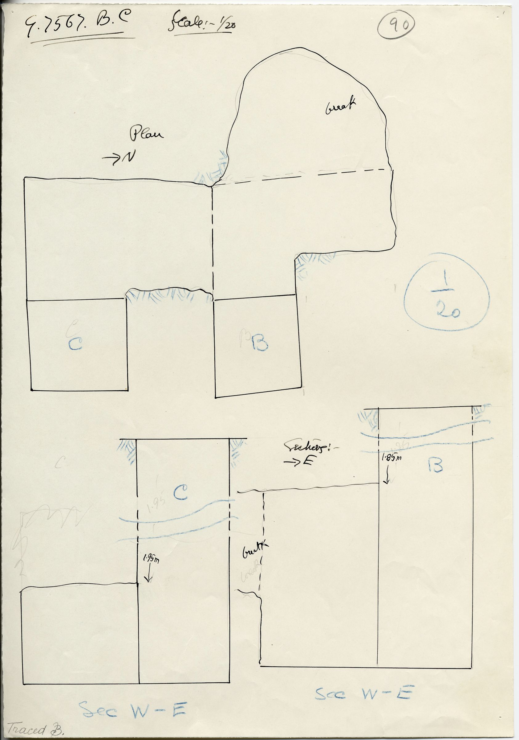 Maps and plans: G 7567, Shaft B and C