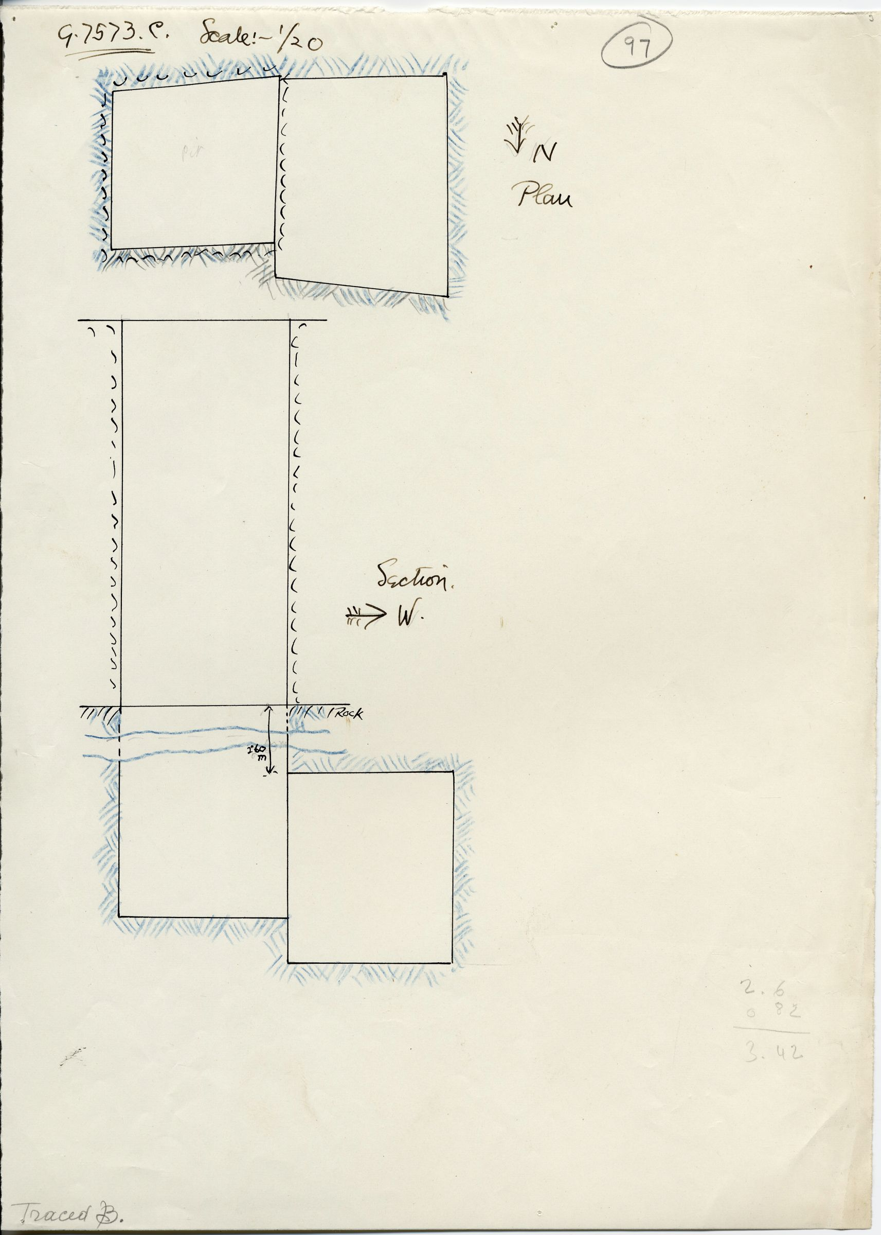 Maps and plans: G 7573, Shaft C