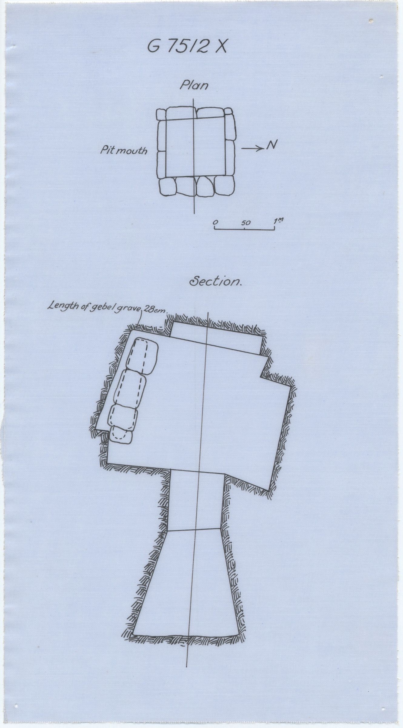 Maps and plans: G 7512, Shaft X