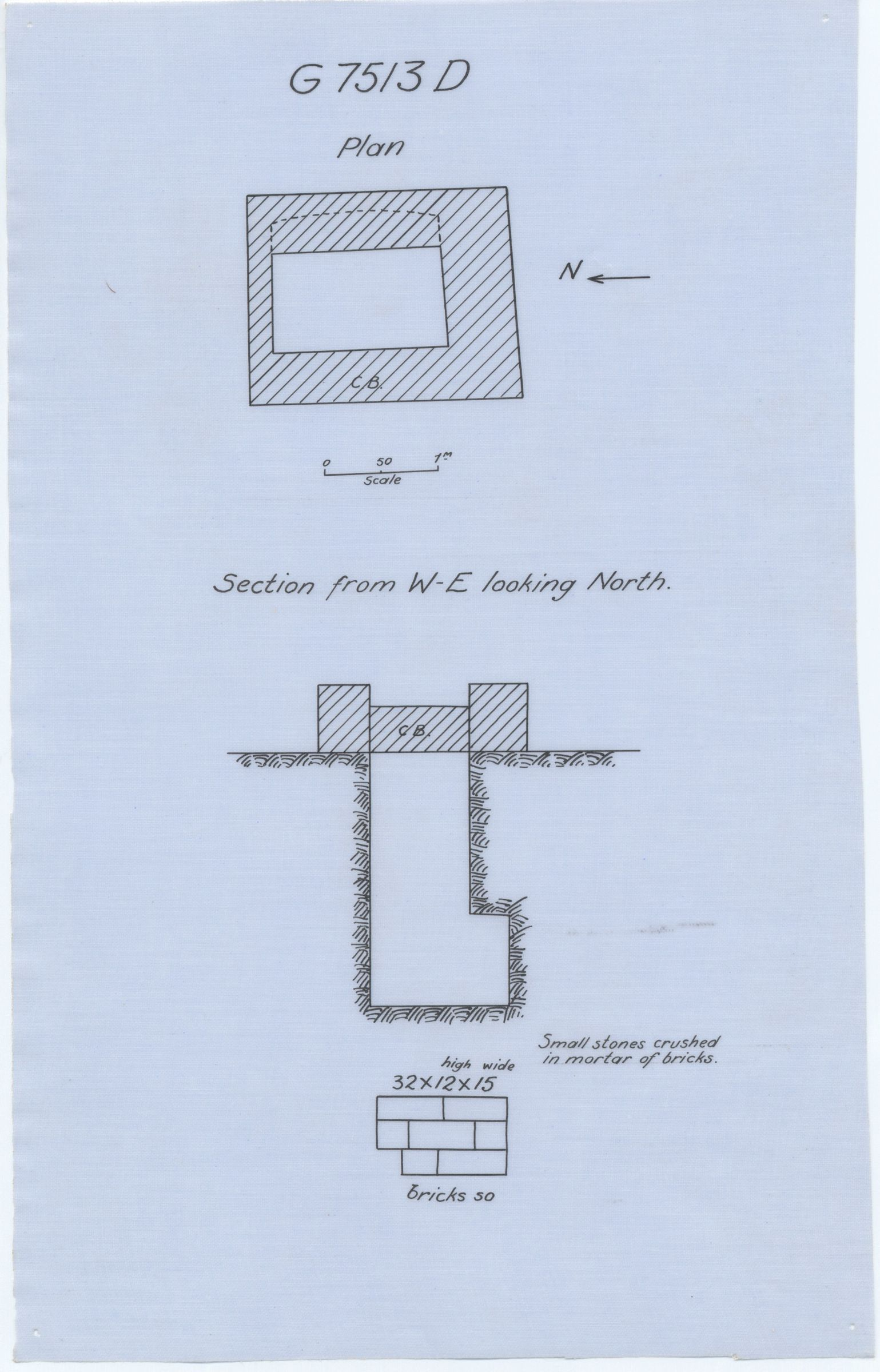Maps and plans: G 7513, Shaft D