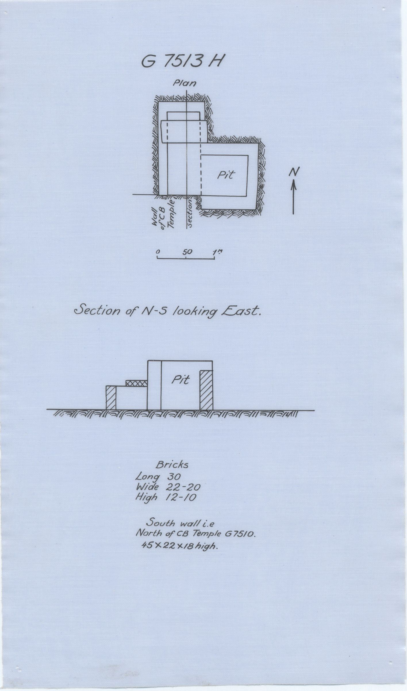 Maps and plans: G 7513, Shaft H