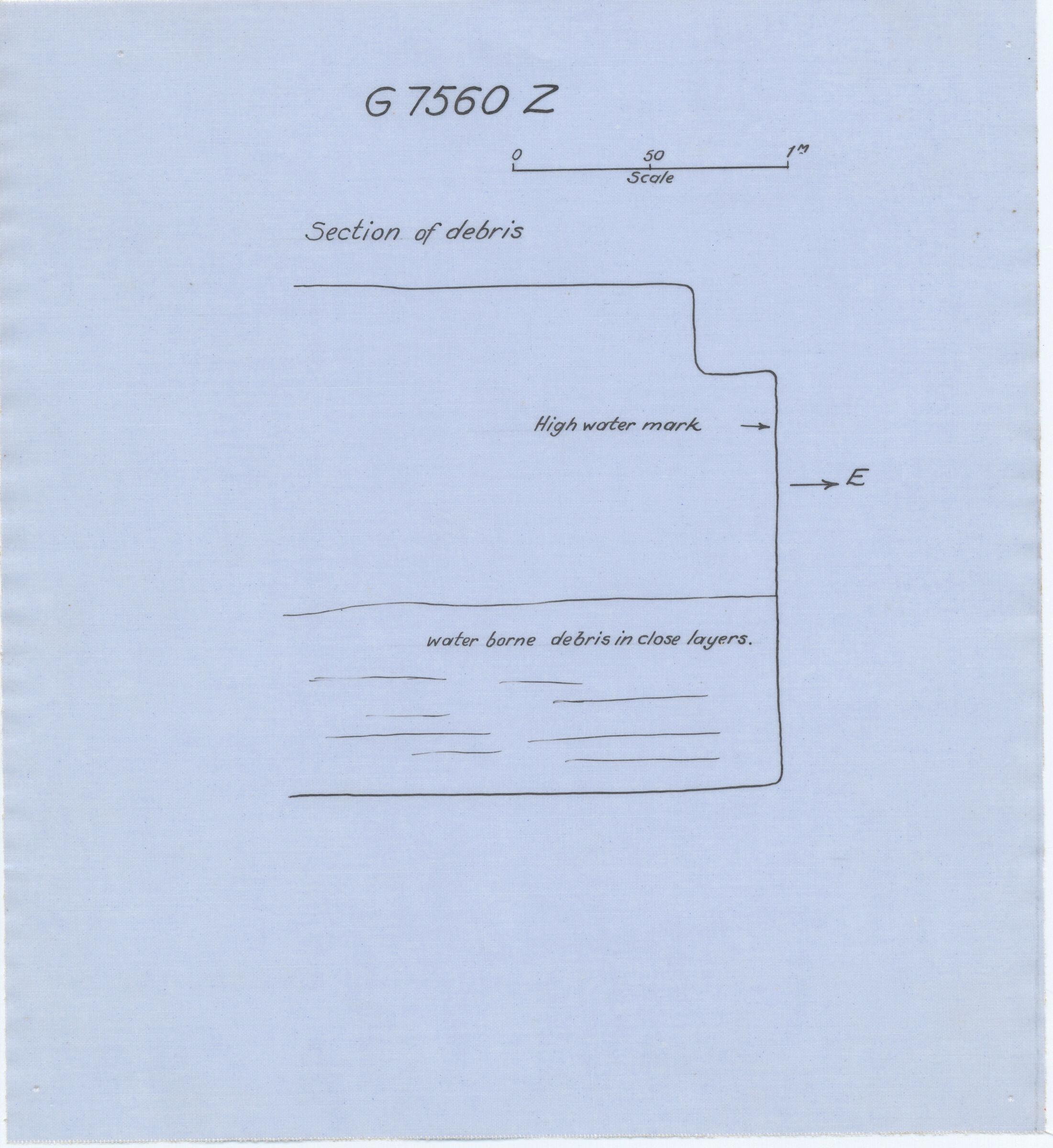 Maps and plans: G 7560, Shaft Z, section of debris inside door