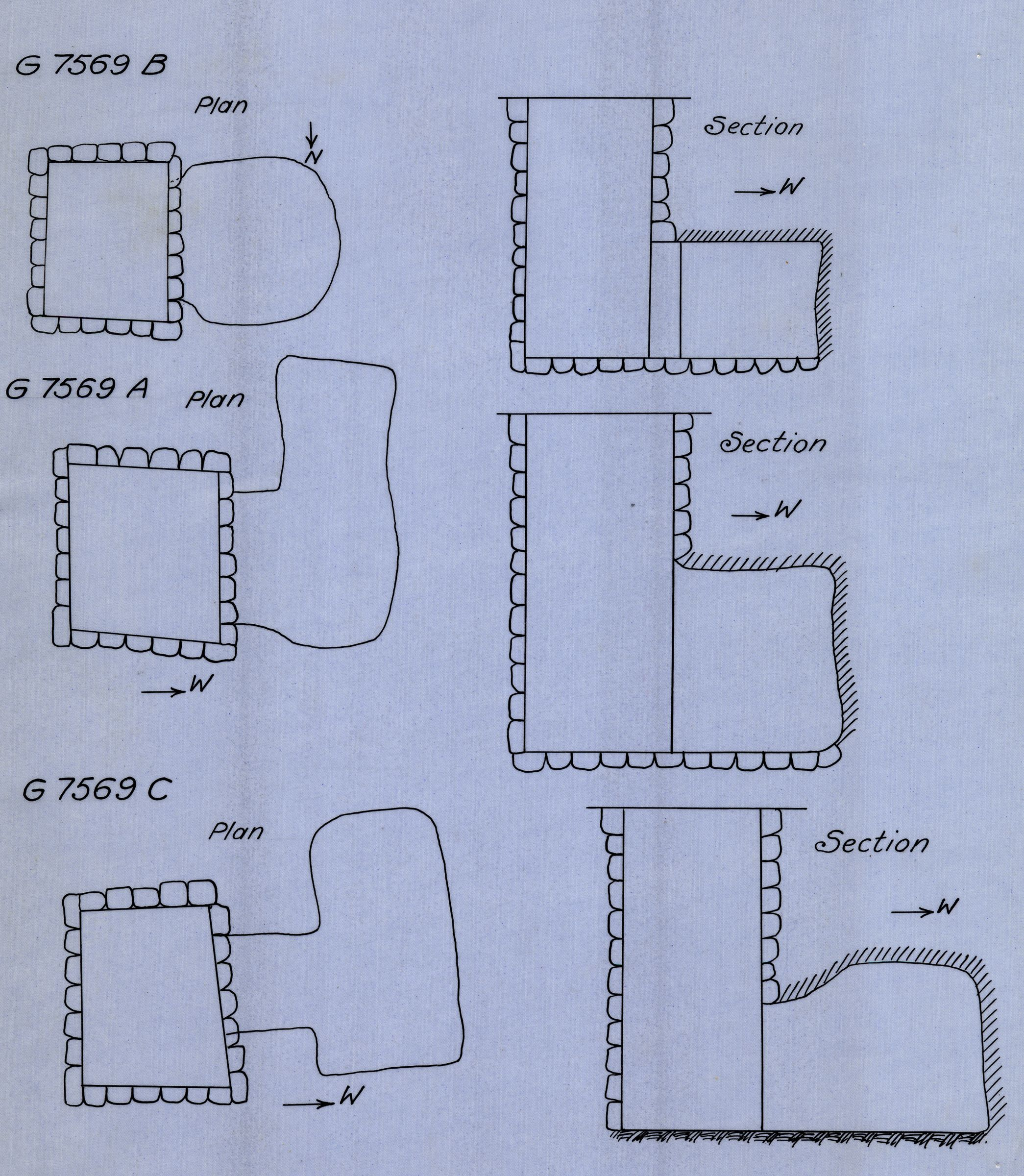 Maps and plans: G 7569, Shaft A, B, C
