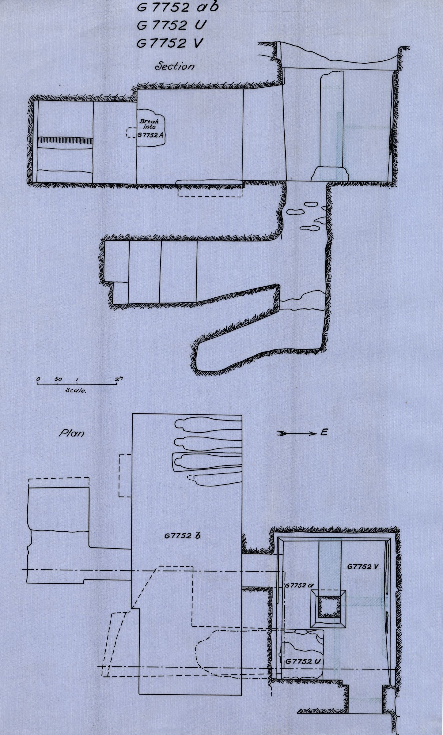 Maps and plans: G 7752, Chapel a and b, with shafts U and V