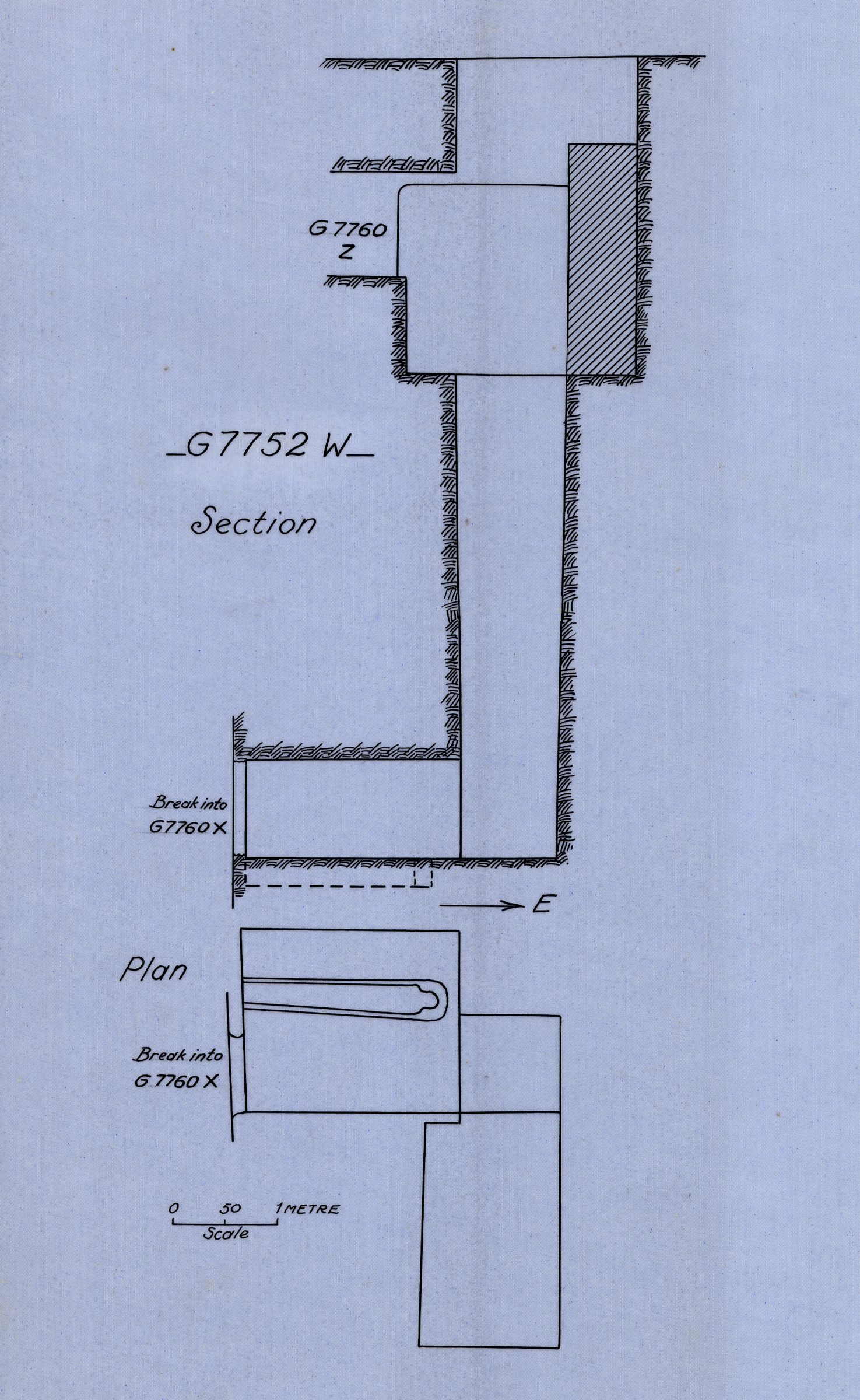 Maps and plans: G 7752, Shaft W
