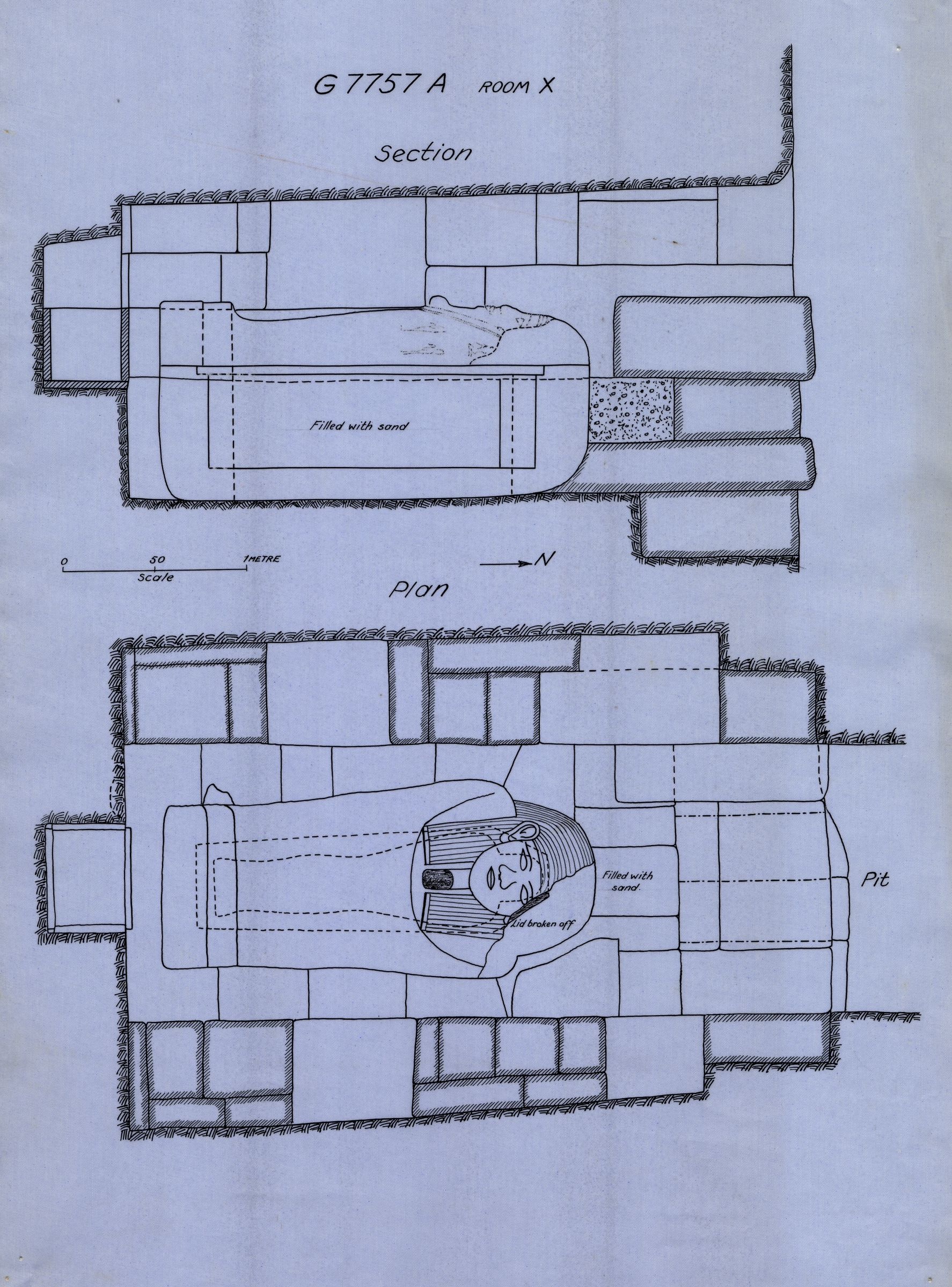 Maps and plans: G 7757, Shaft A, room X