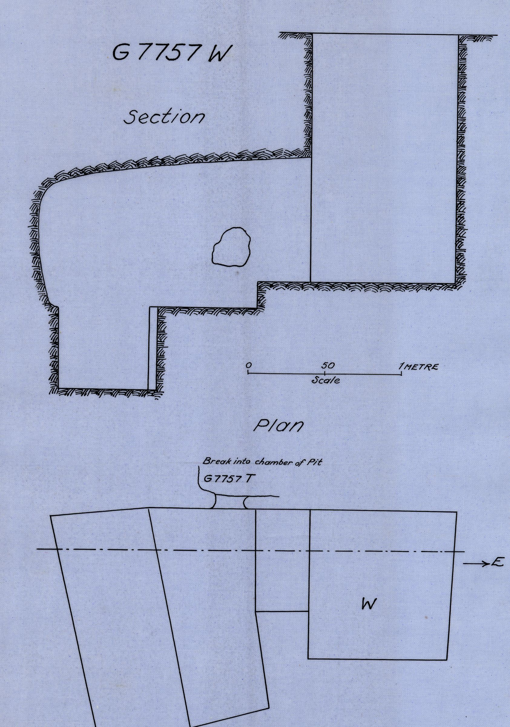 Maps and plans: G 7757, Shaft W