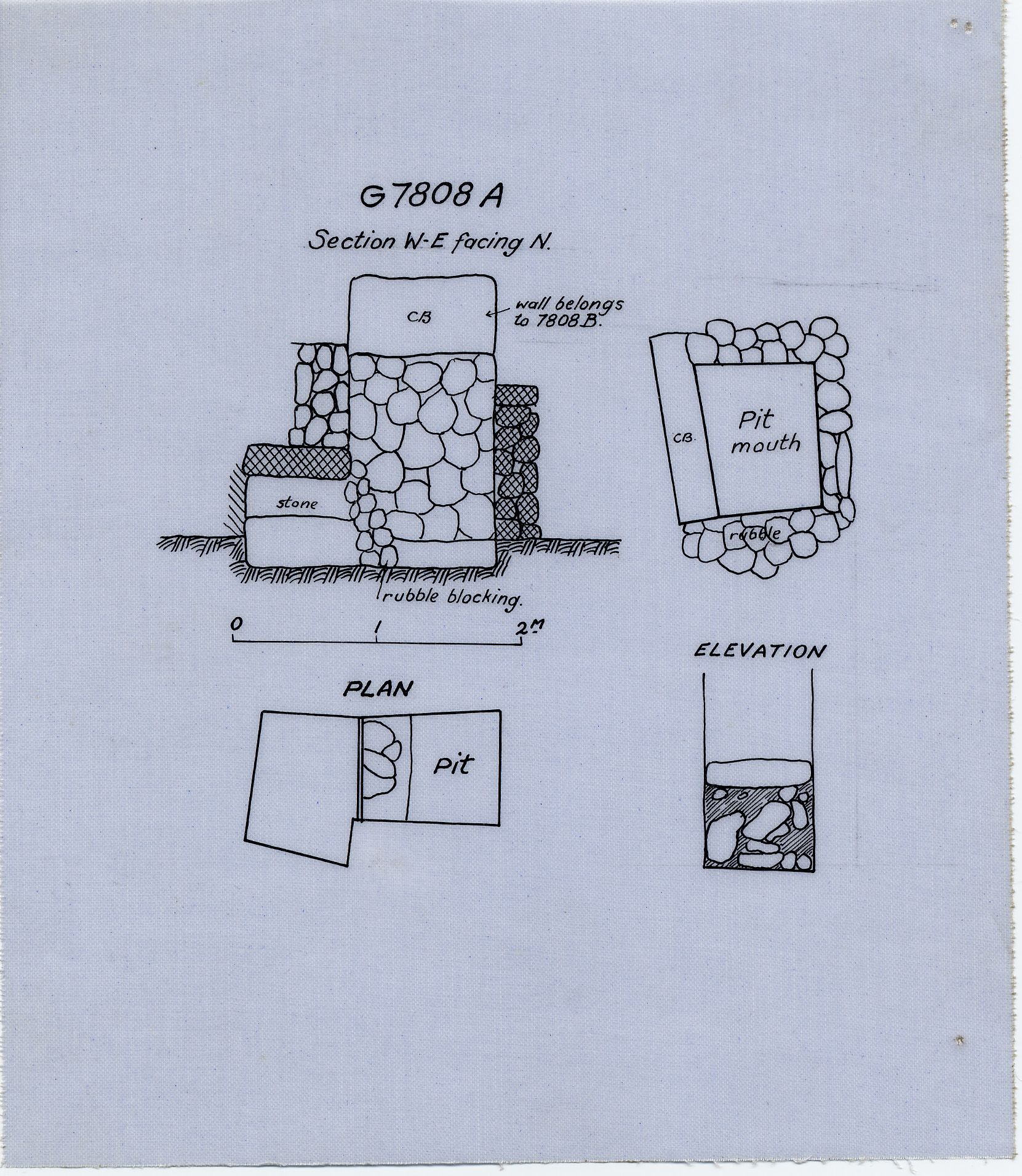 Maps and plans: G 7808, Shaft A