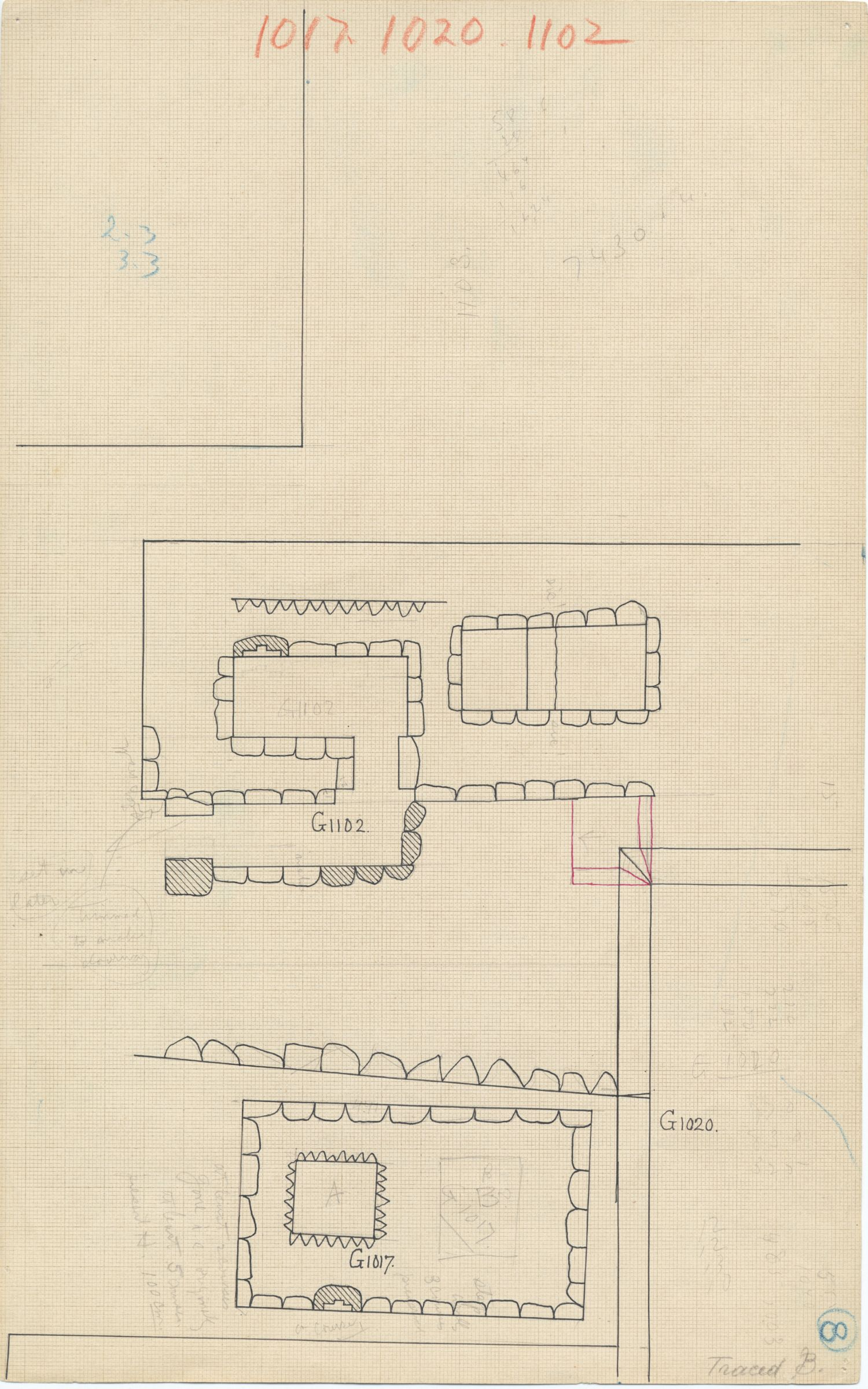 Maps and plans: Plan of G 1017 and G 1102, with position of G 1020
