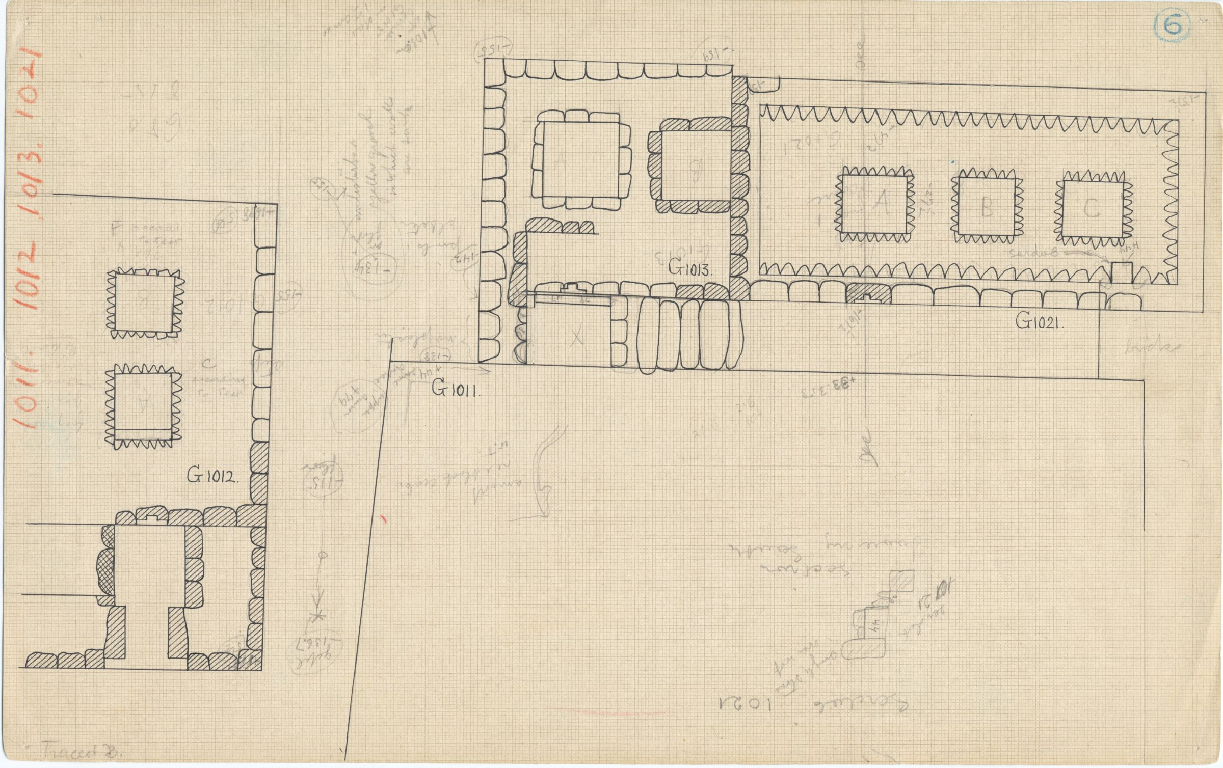 Maps and plans: Plan of G 1012 (partial), G 1013, G 1021, with position of G 1011