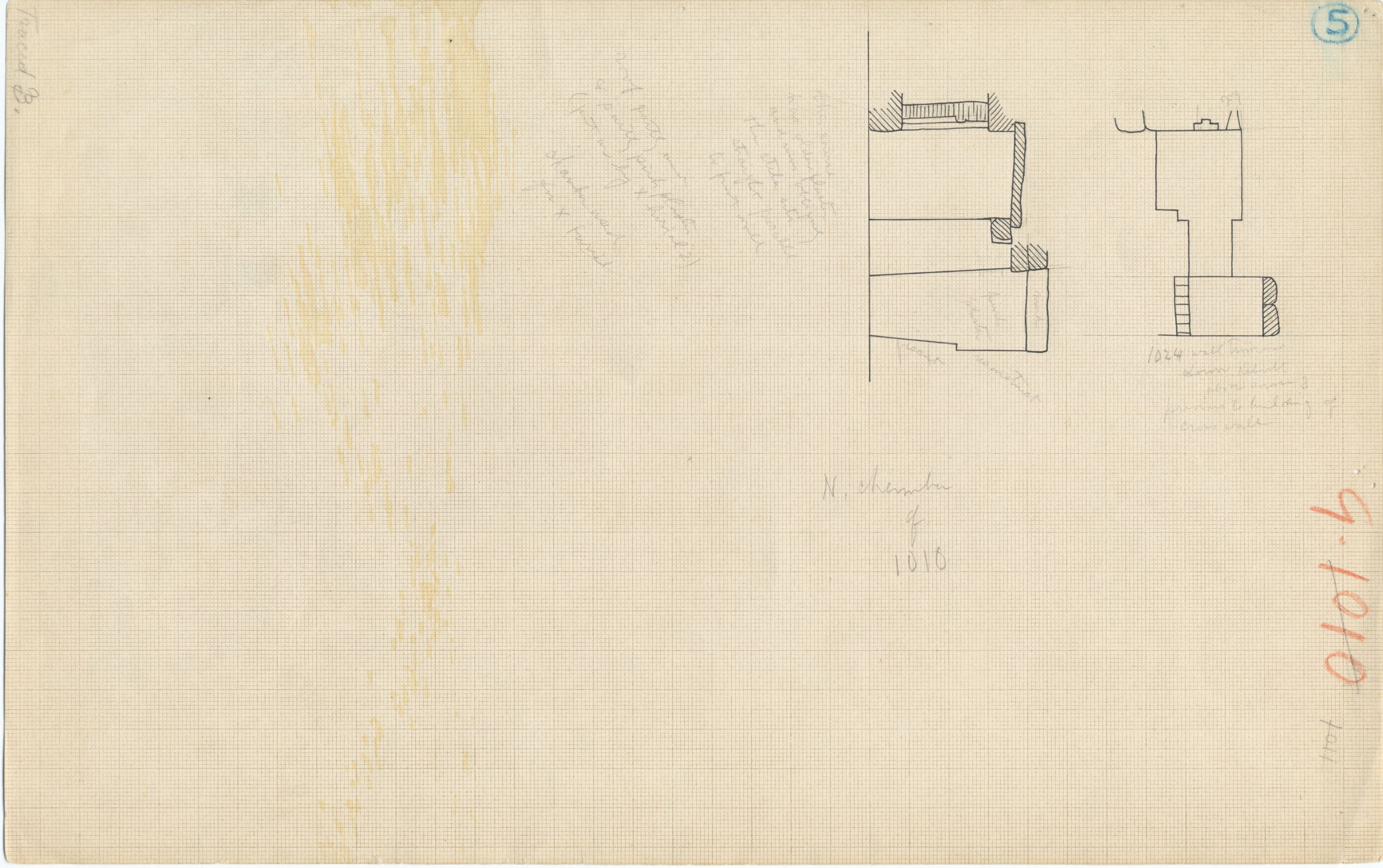 Maps and plans: Plan and section of G 1011, north chamber (chamber a), with position of G 1024