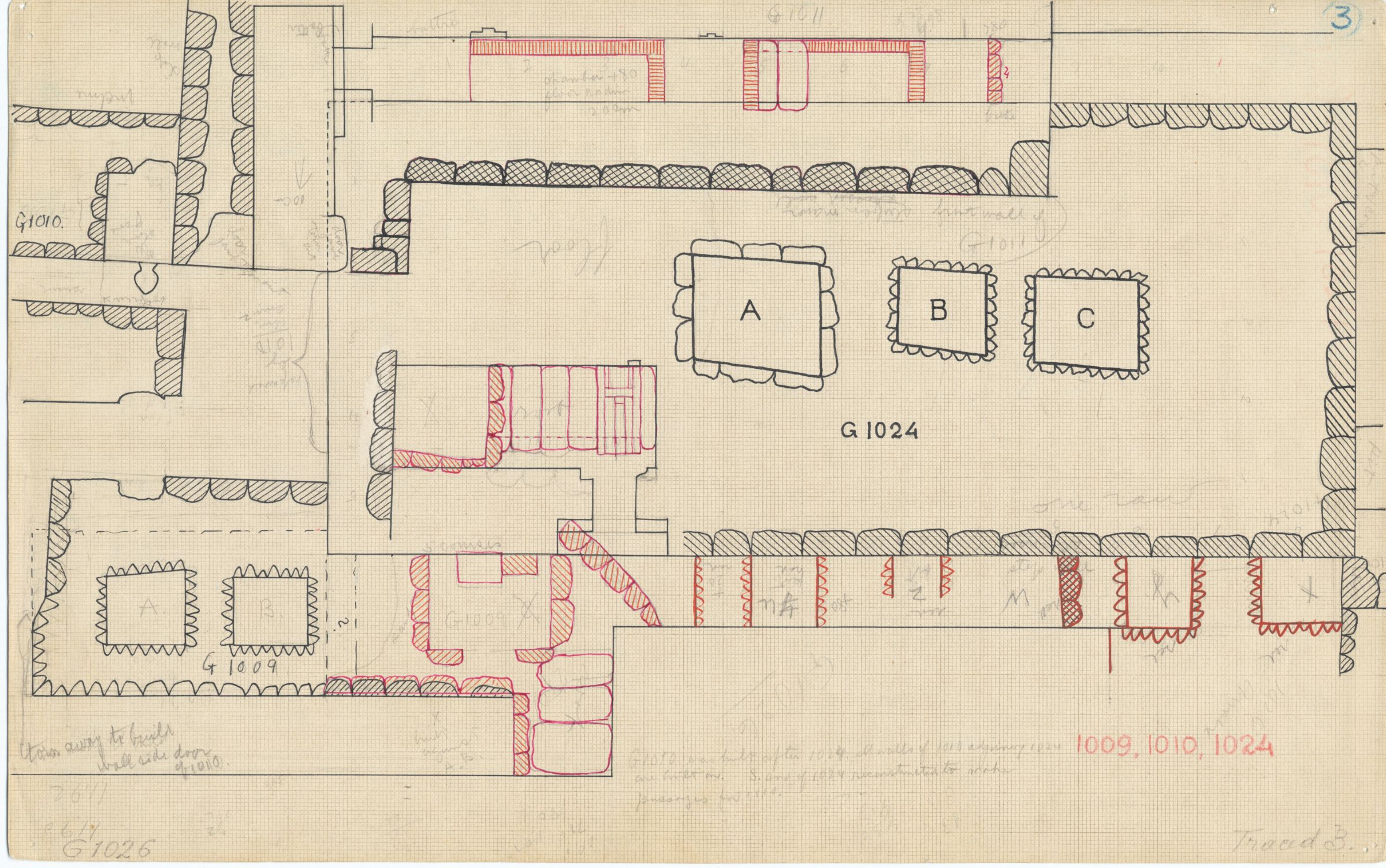 Maps and plans: Plan of G 1009 and G 1024, with position G 1010 and G 1011
