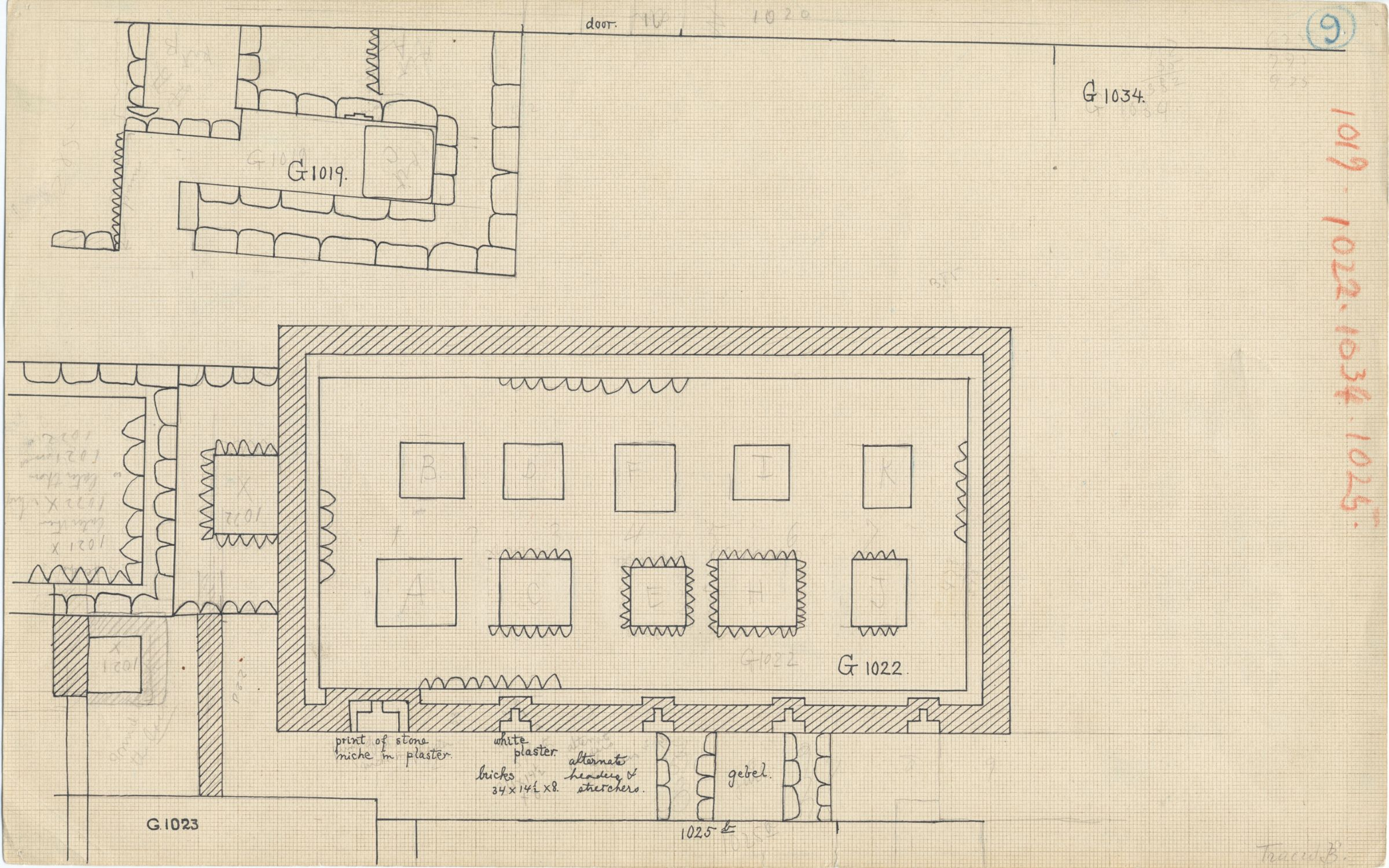 Maps and plans: Plan of G 1019 and G 1022, with position of G 1020, G 1021, G 1023, G 1025