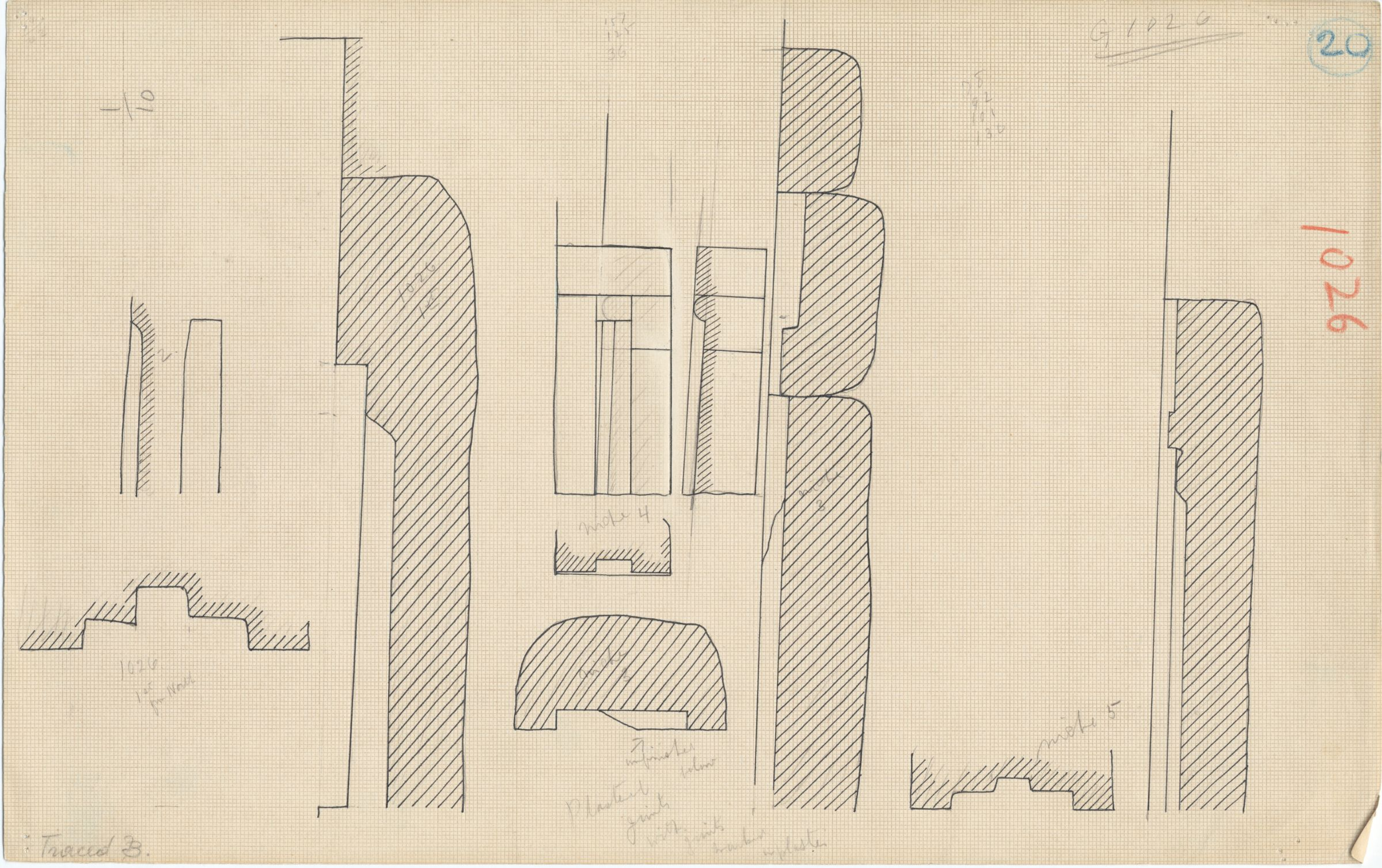 Maps and plans: G 1026, Plan and section of niches (3, 4, 5)