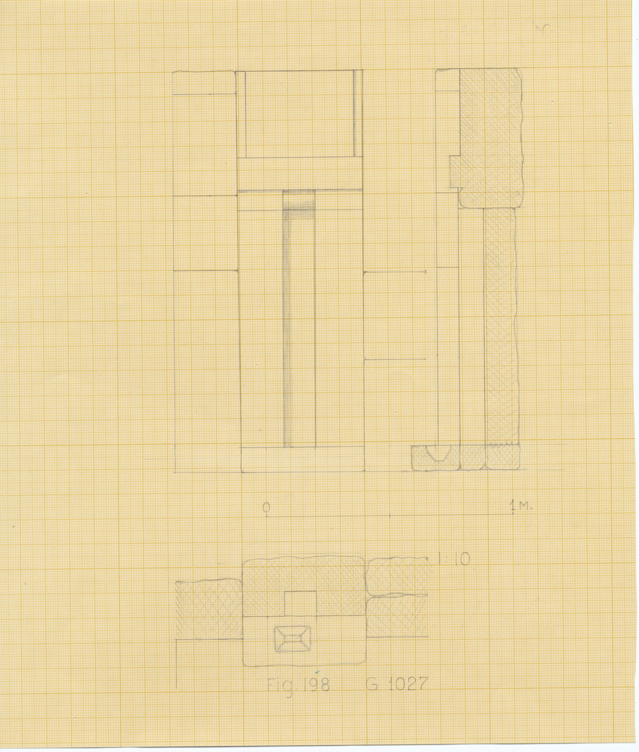 Maps and plans: G 1027, Plan, section, and elevation of false door
