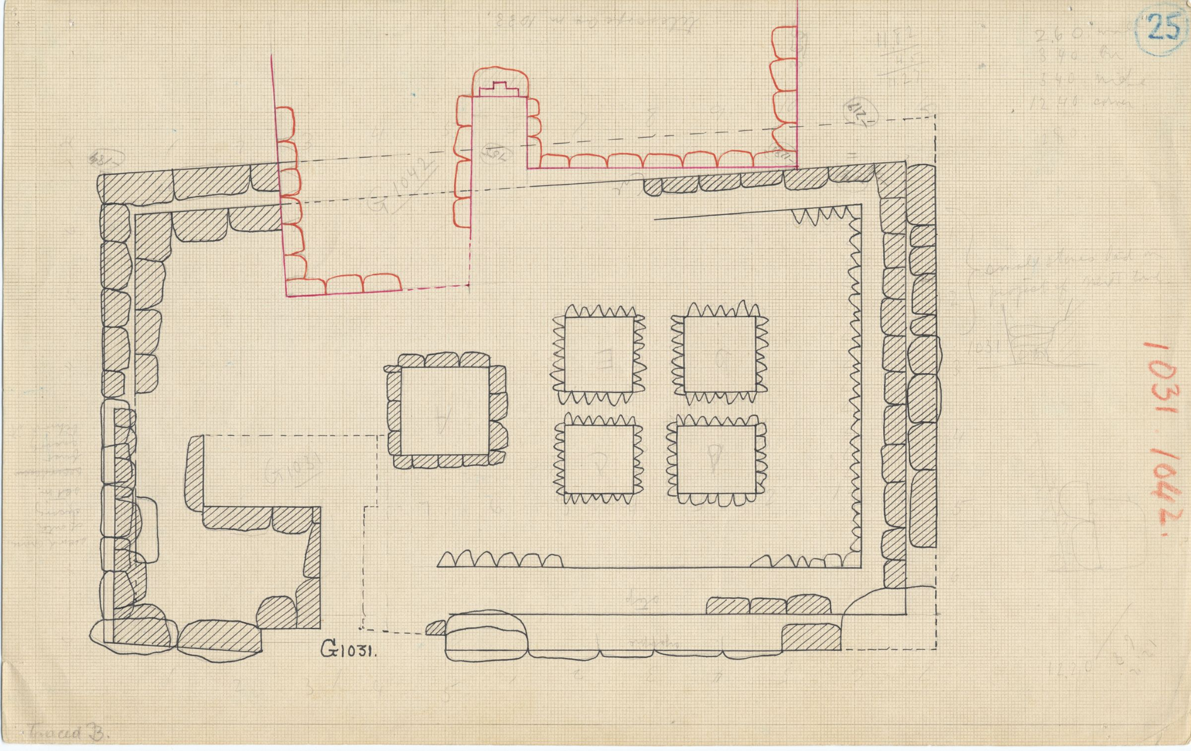 Maps and plans: Plan of G 1031, with position of G 1042