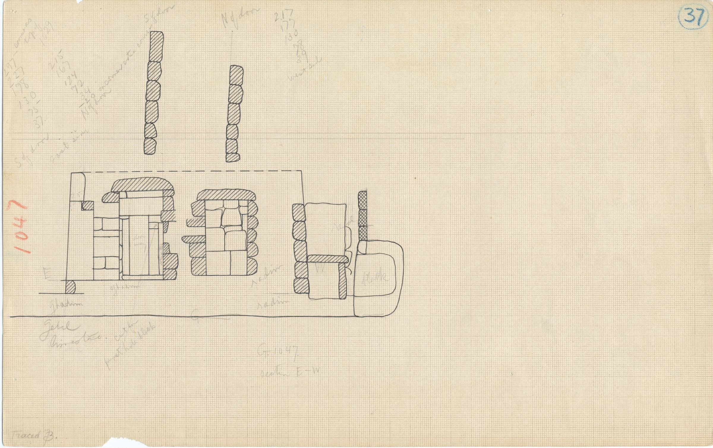 Maps and plans: G 1047, Section east-west