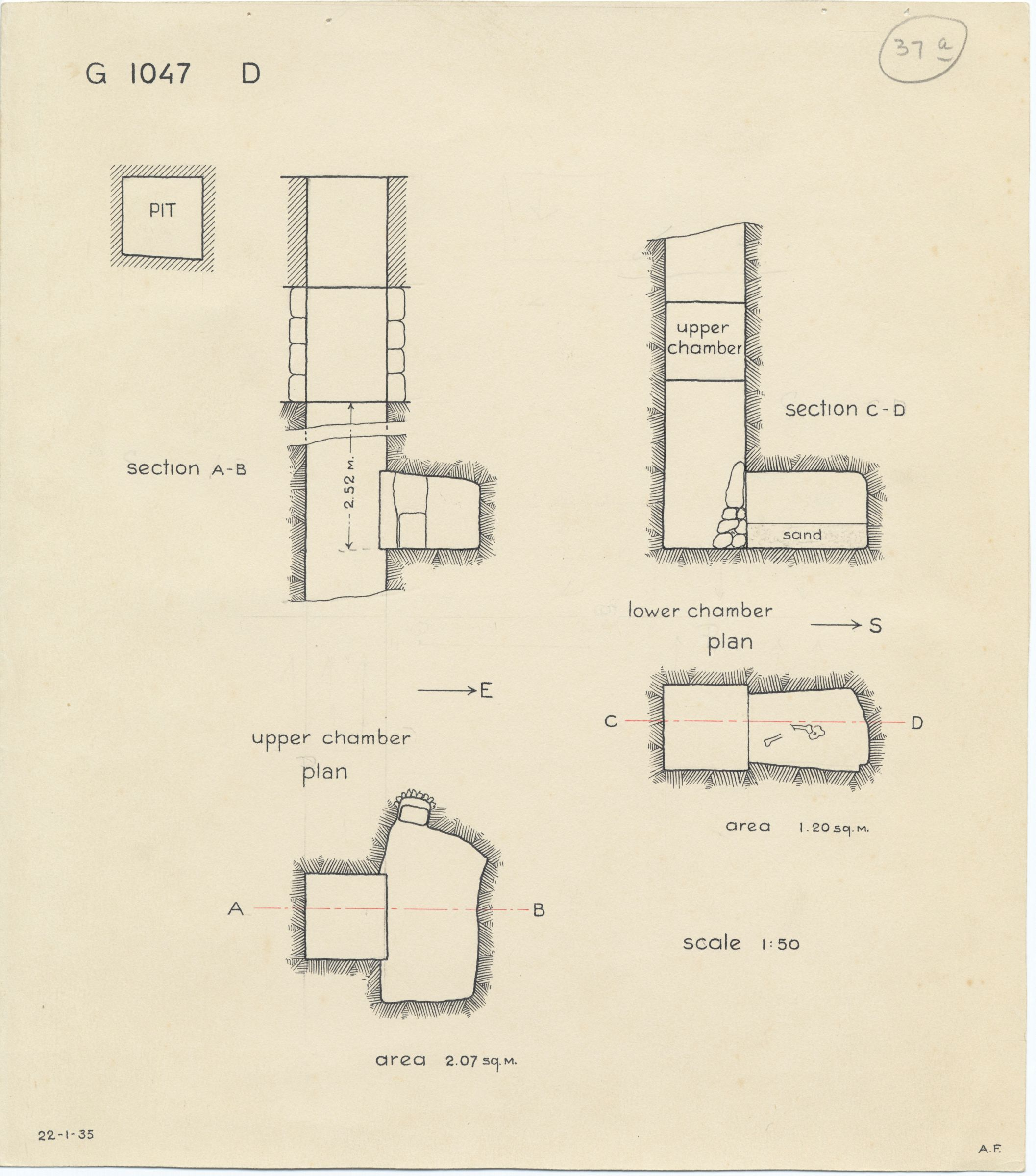 Maps and plans: G 1047, Shaft D