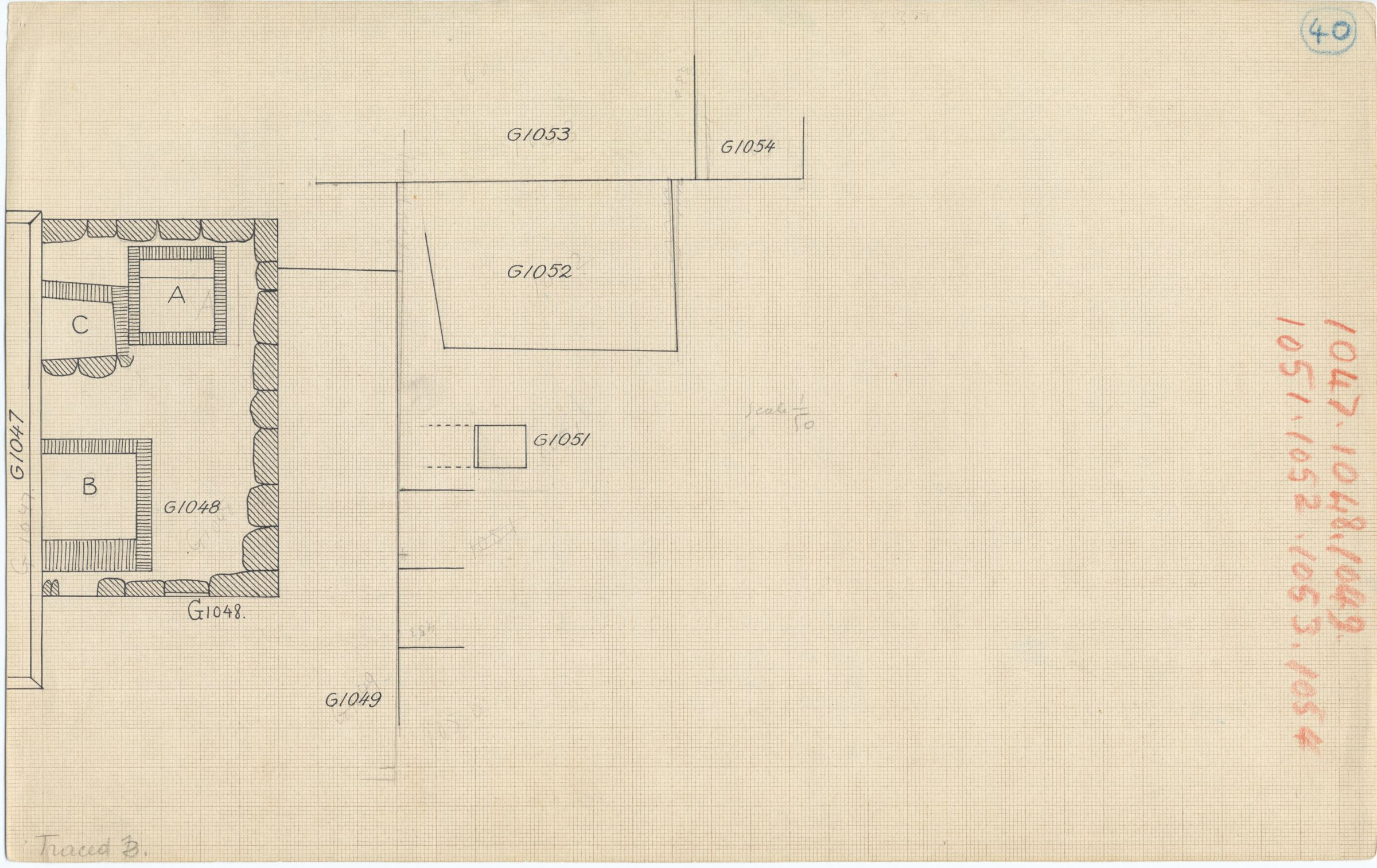 Maps and plans: Plan of G 1048, with position of G 1047, G 1049, G 1051, G 1052, G 1053, G 1054