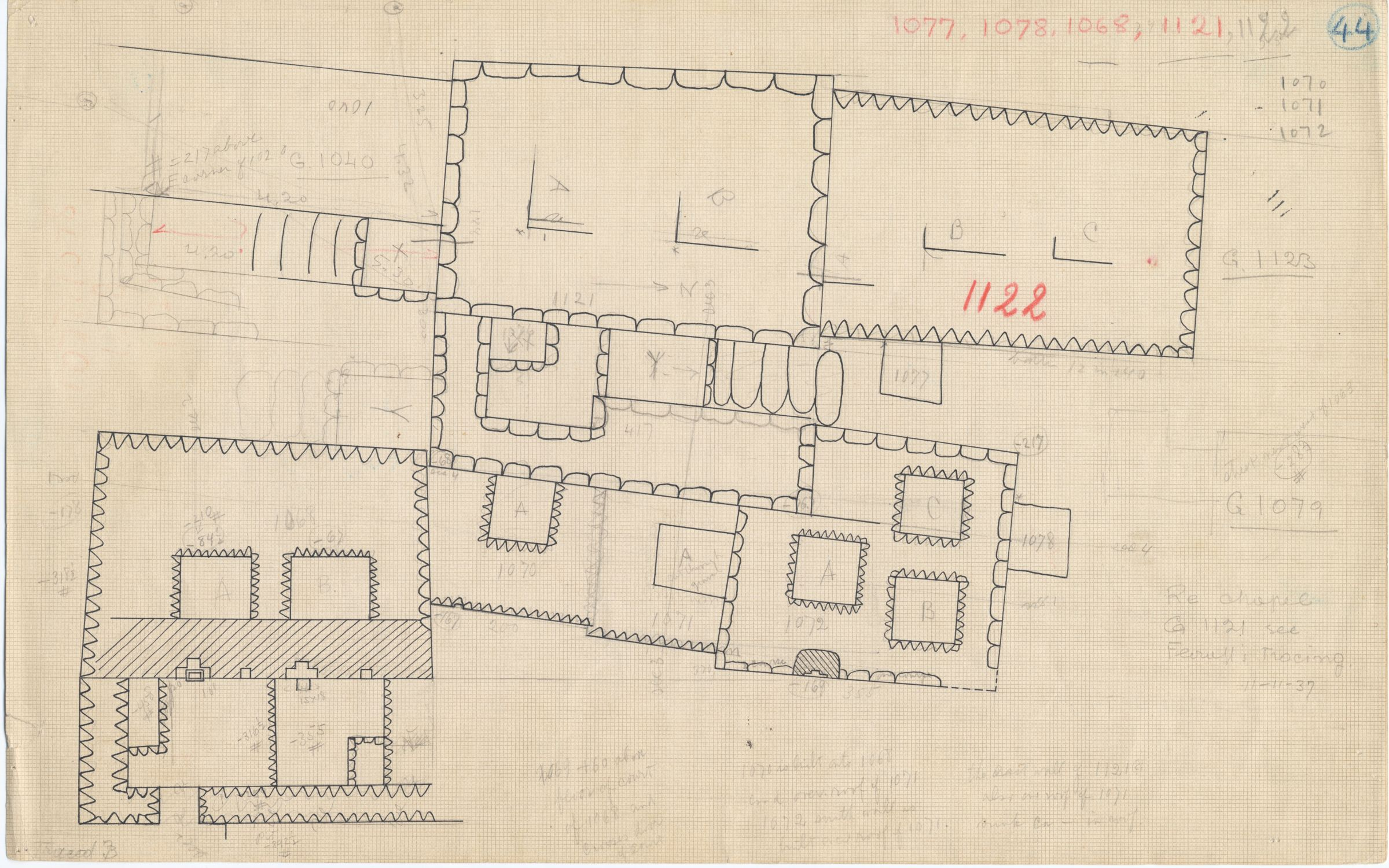 Maps and plans: Plan of G 1068, G 1069, G 1070, G 1071, G 1072, G 1076, G 1077, G 1078, G 1121, G 1122, with position of G 1040+1041