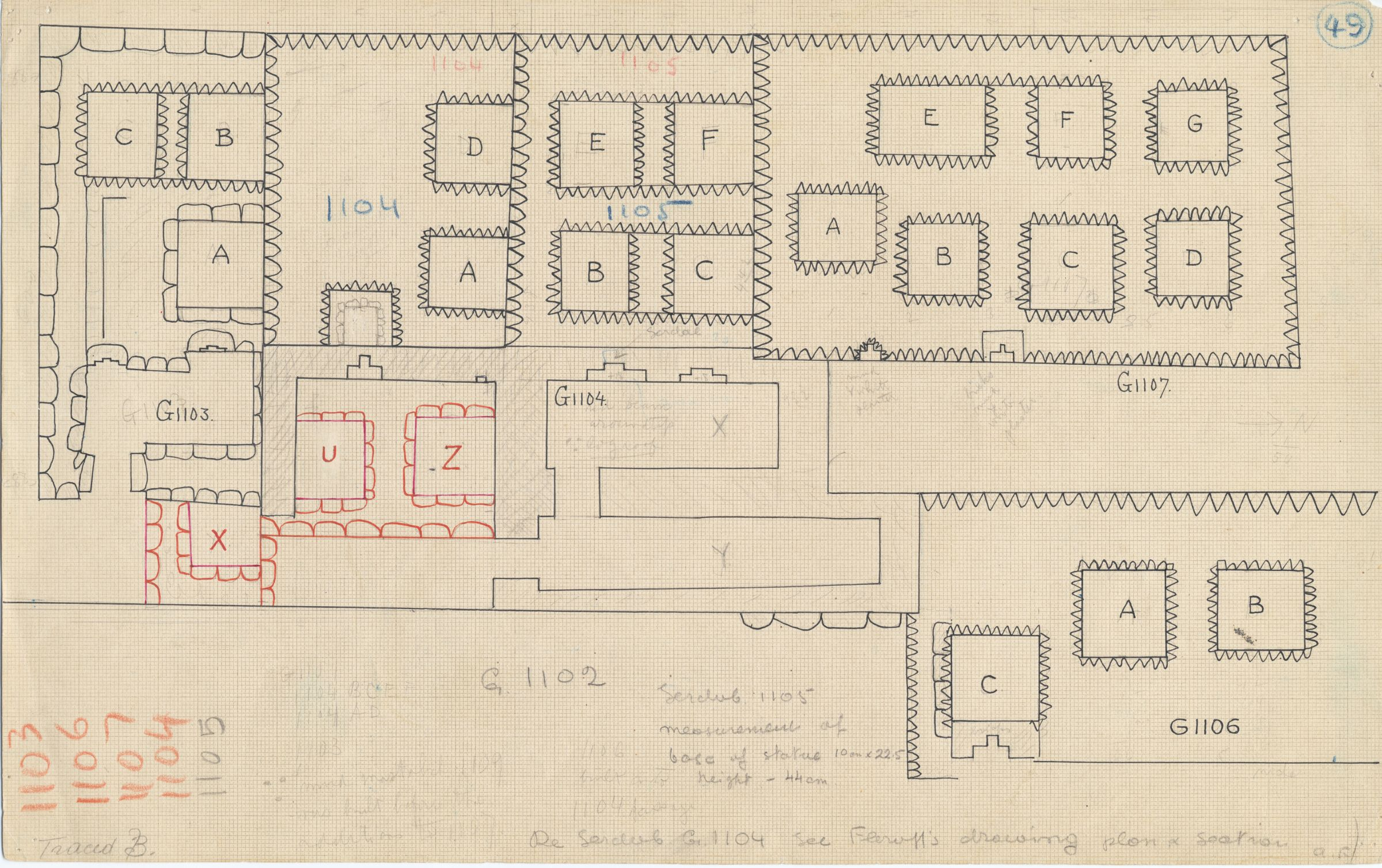 Maps and plans: Plan of G 1103, G 1104+1105, G 1106, G 1107, with position of G 1102