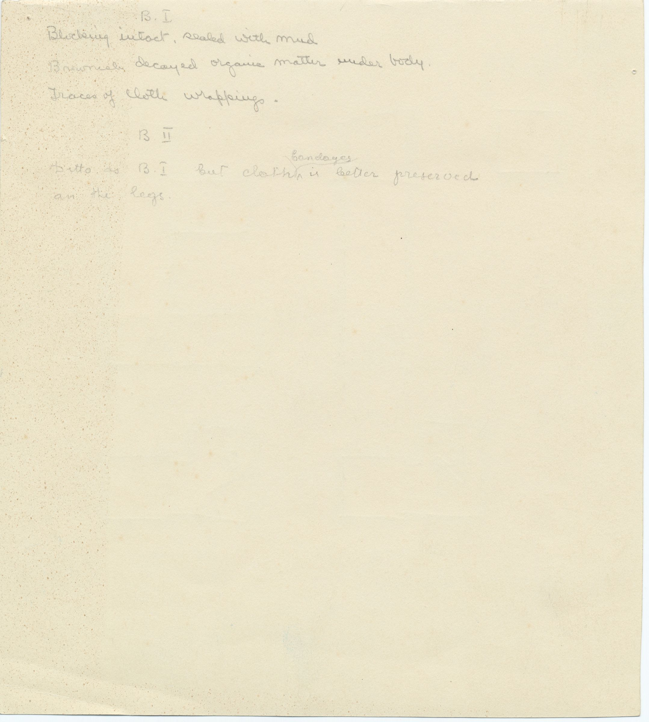 Notes: G 1111, Shaft B (I & II), notes