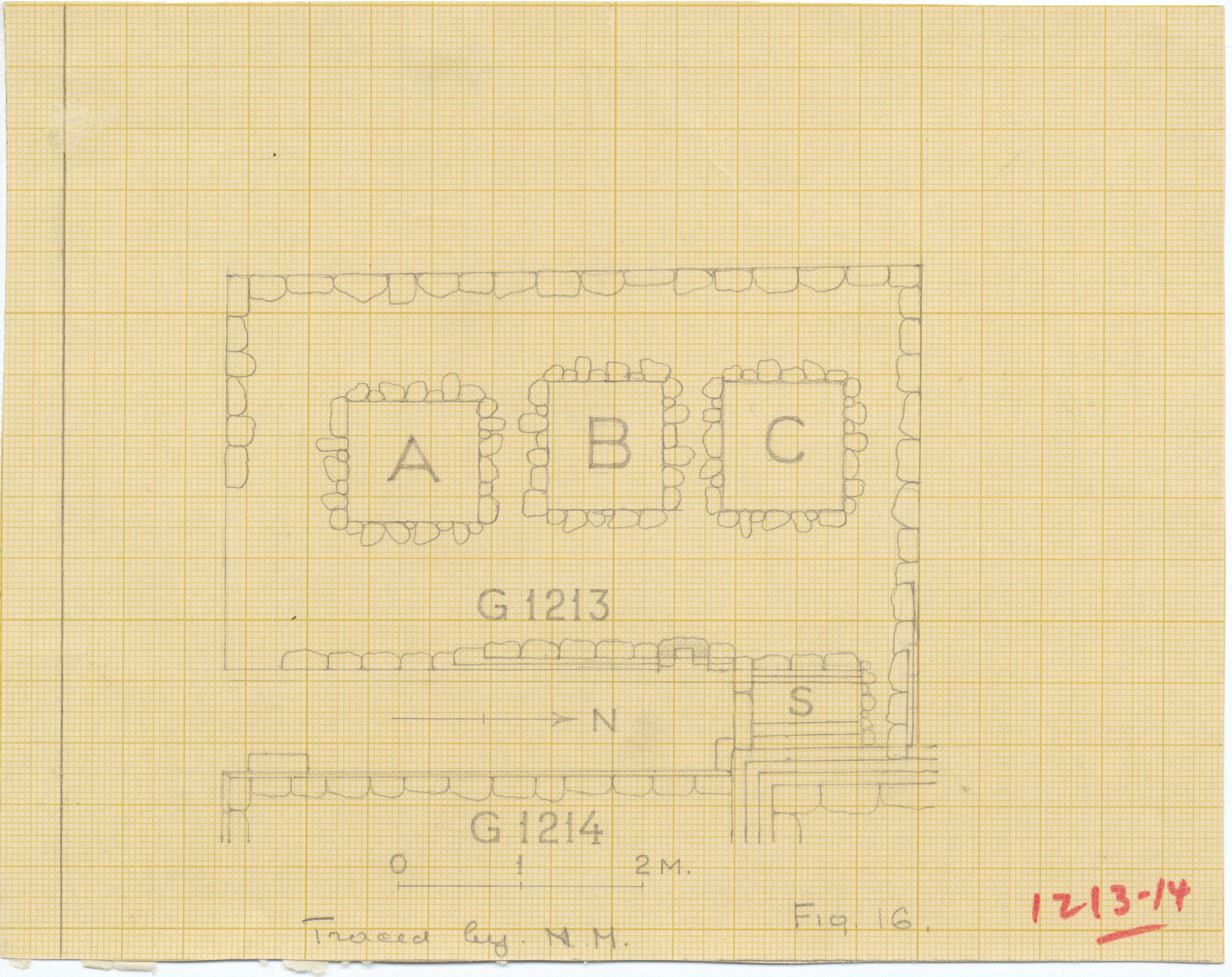 Maps and plans: Plan of G 1213, with position of G 1214