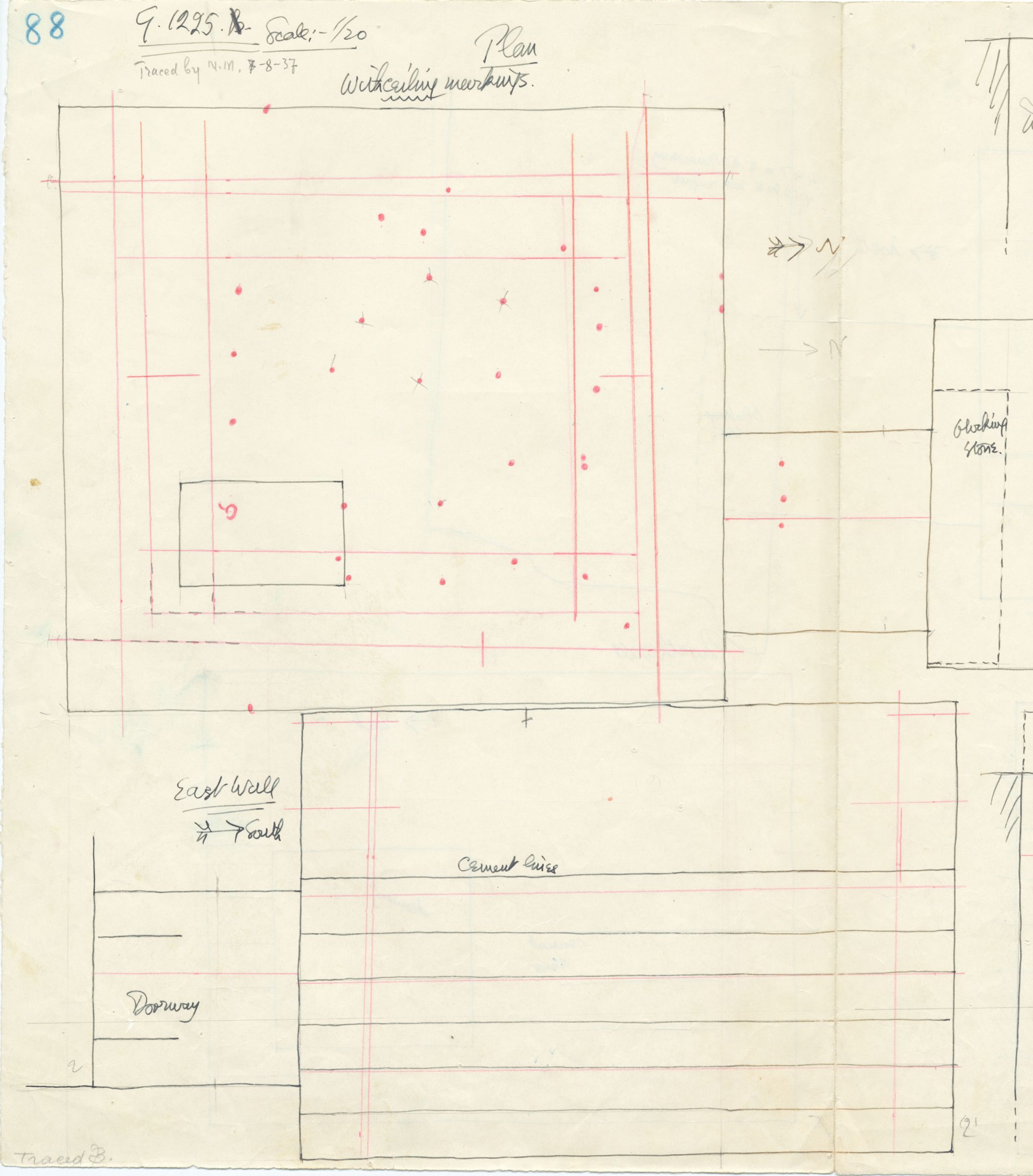 Maps and plans: G 1225, Shaft A, plan and wall elevation (east)