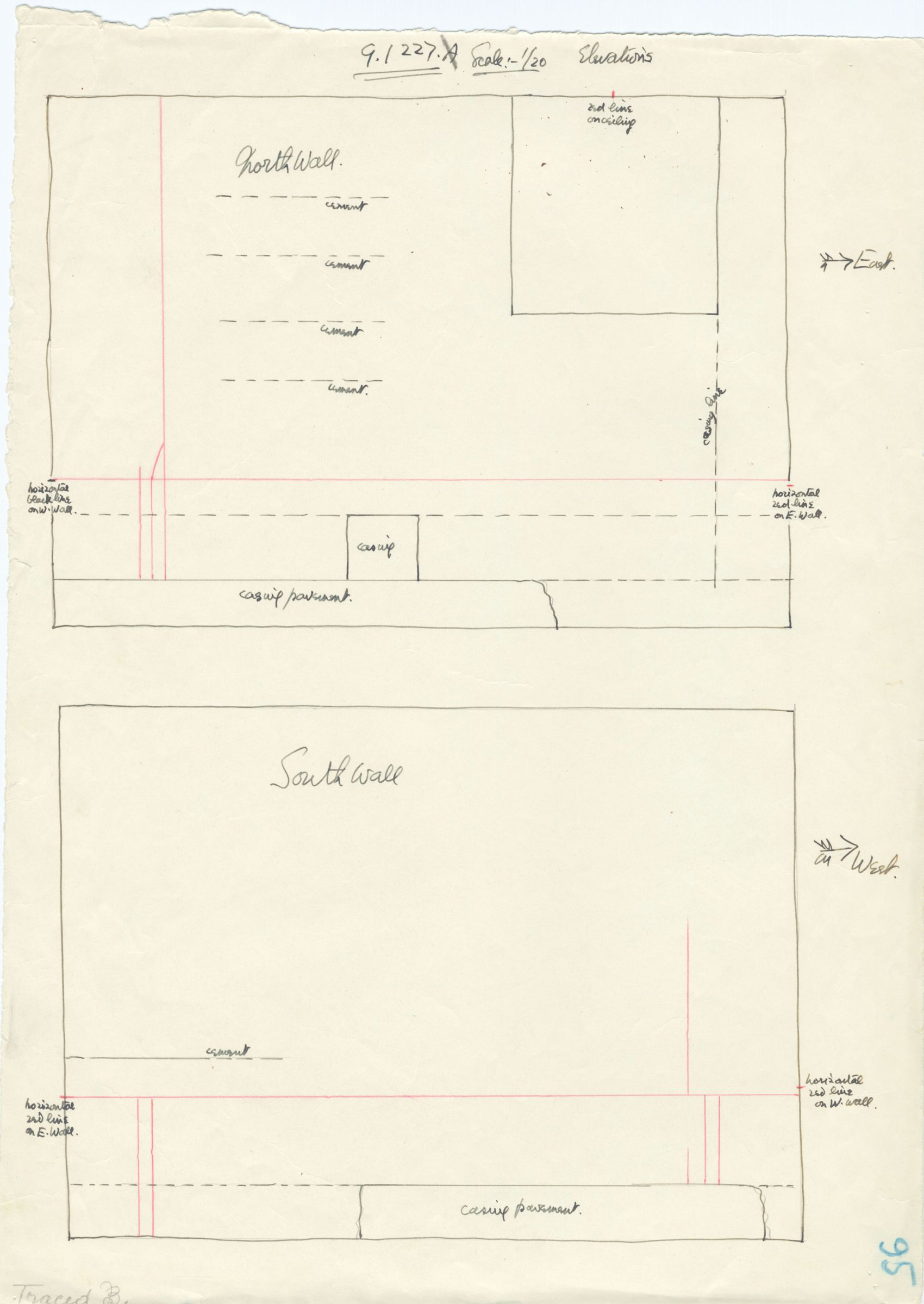 Maps and plans: G 1227, Shaft A, wall elevations (south and north)