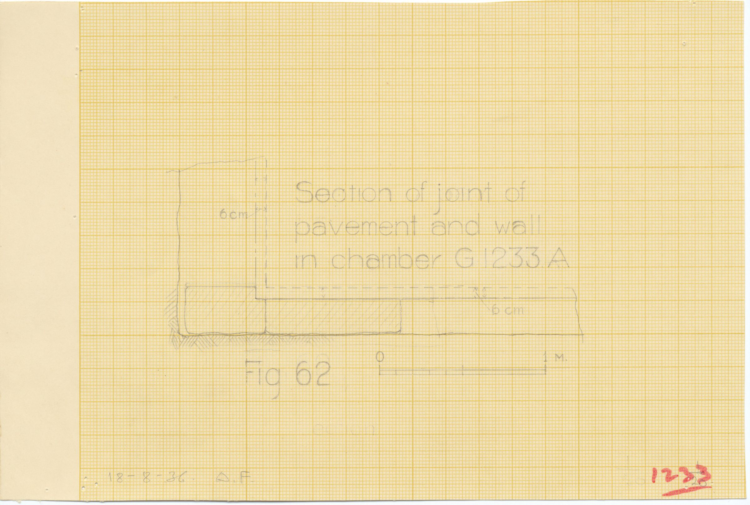 Maps and plans: G 1233, Shaft A, section of joint of pavement and wall in chamber
