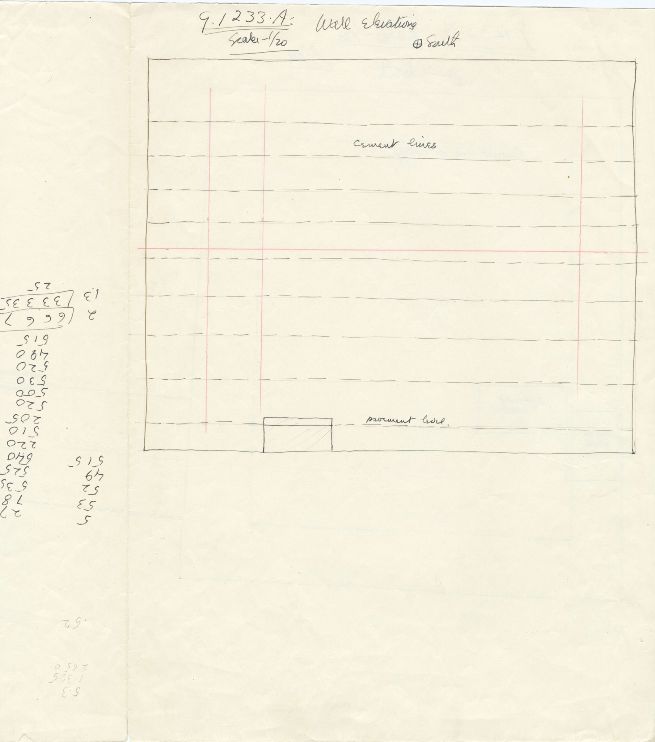 Maps and plans: G 1233, Shaft A, wall elevation (south)